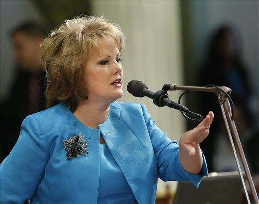 Assemblywoman Shannon Grove, R-Bakersfield, speaks in opposition to a measure that would prevent lenders from garnishing the wages of those who fail to repay student loans not made or guaranteed by the federal government, during the Assembly session at the Capitol in Sacramento, Calif., Thursday.