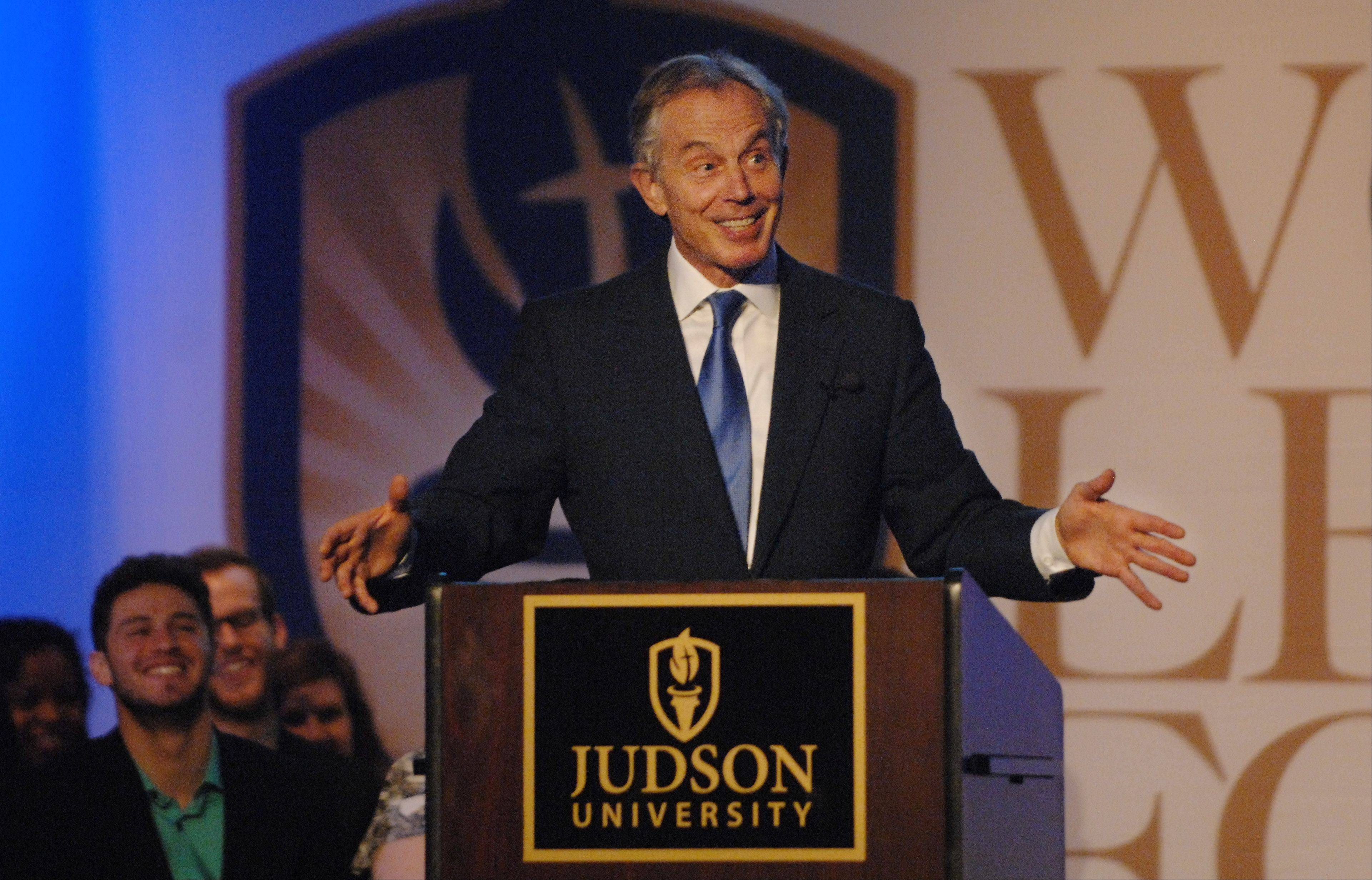 Former British Prime Minister Tony Blair offered a mix of personal and political notes at Judson University Friday.