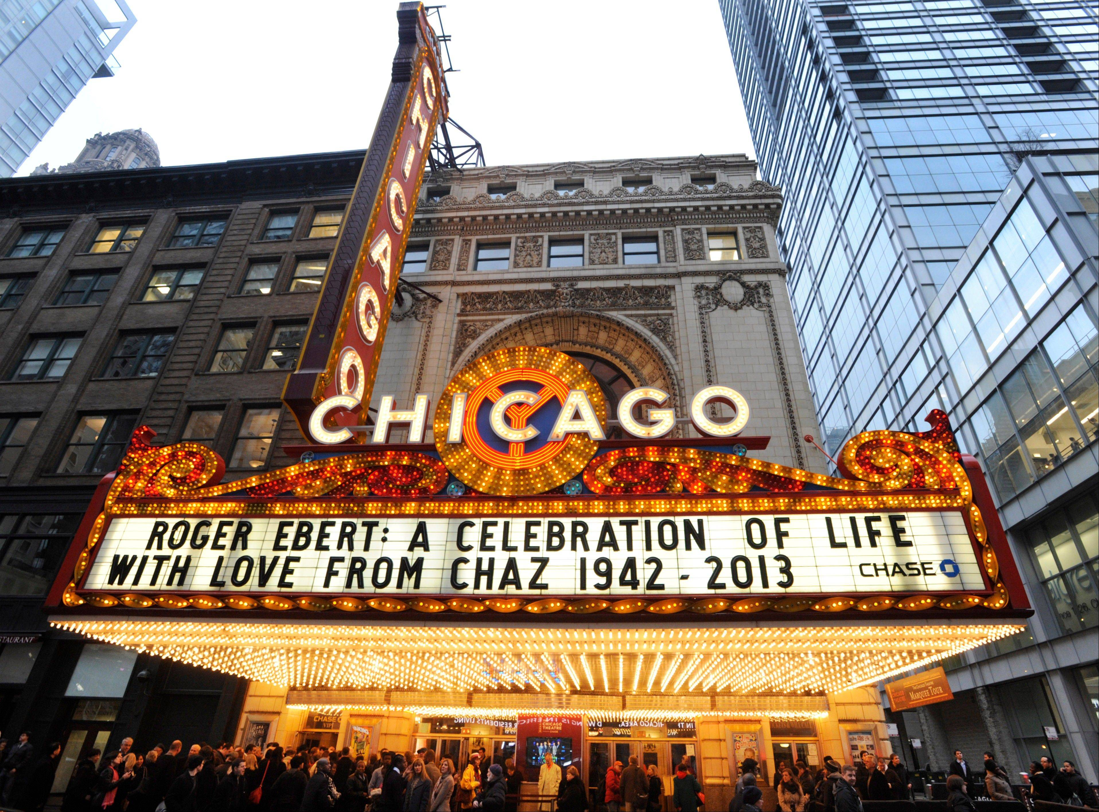 The Chicago Theater marquee before a memorial for film critic Roger Ebert in Chicago, Thursday, April 11, 2013. The Pulitzer Prize winning critic died last week at the age of 70 after a long battle with cancer.