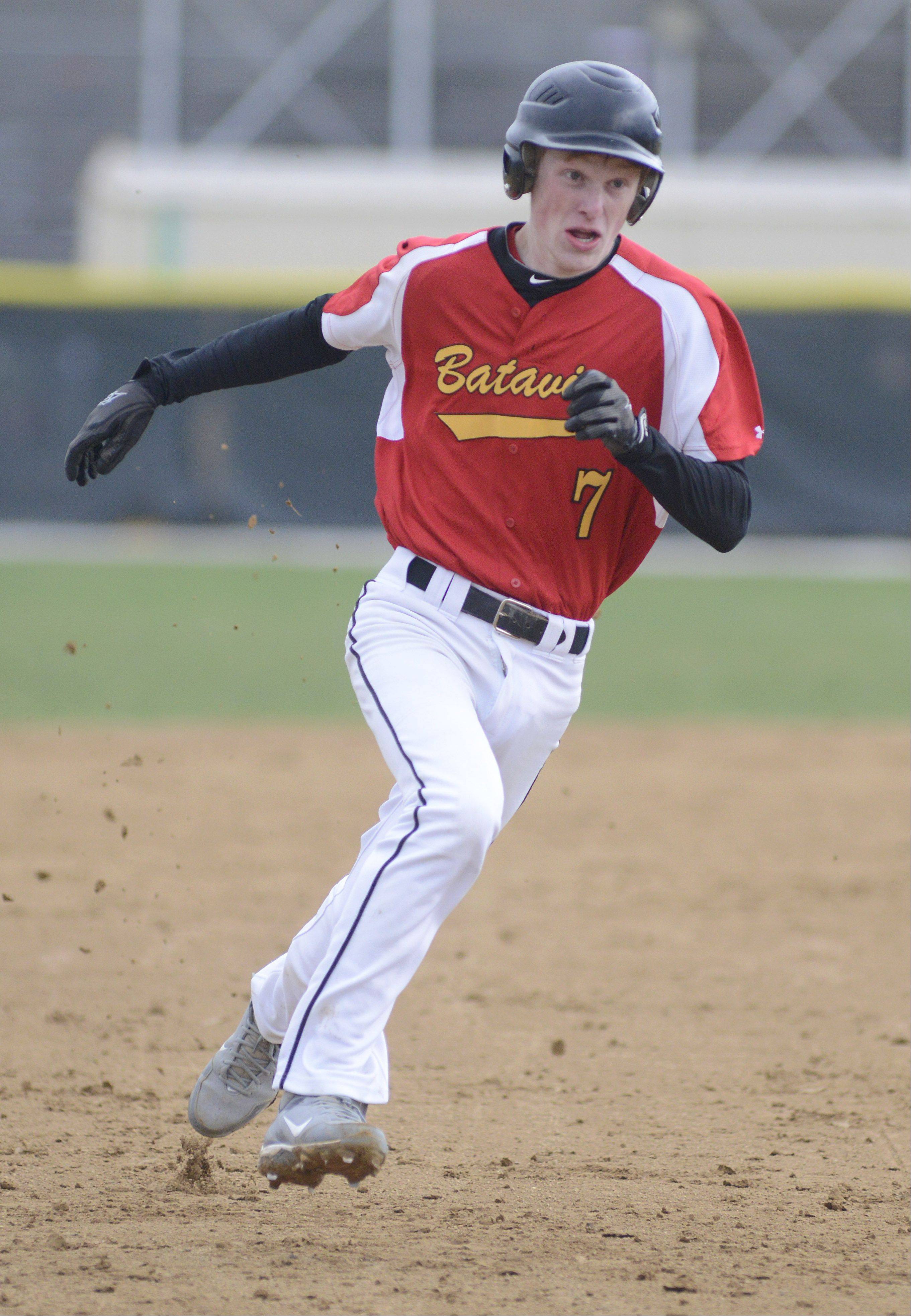 Batavia's Andrew Seigler heads for third base on his way to home plate in the second inning on Friday, April 12.