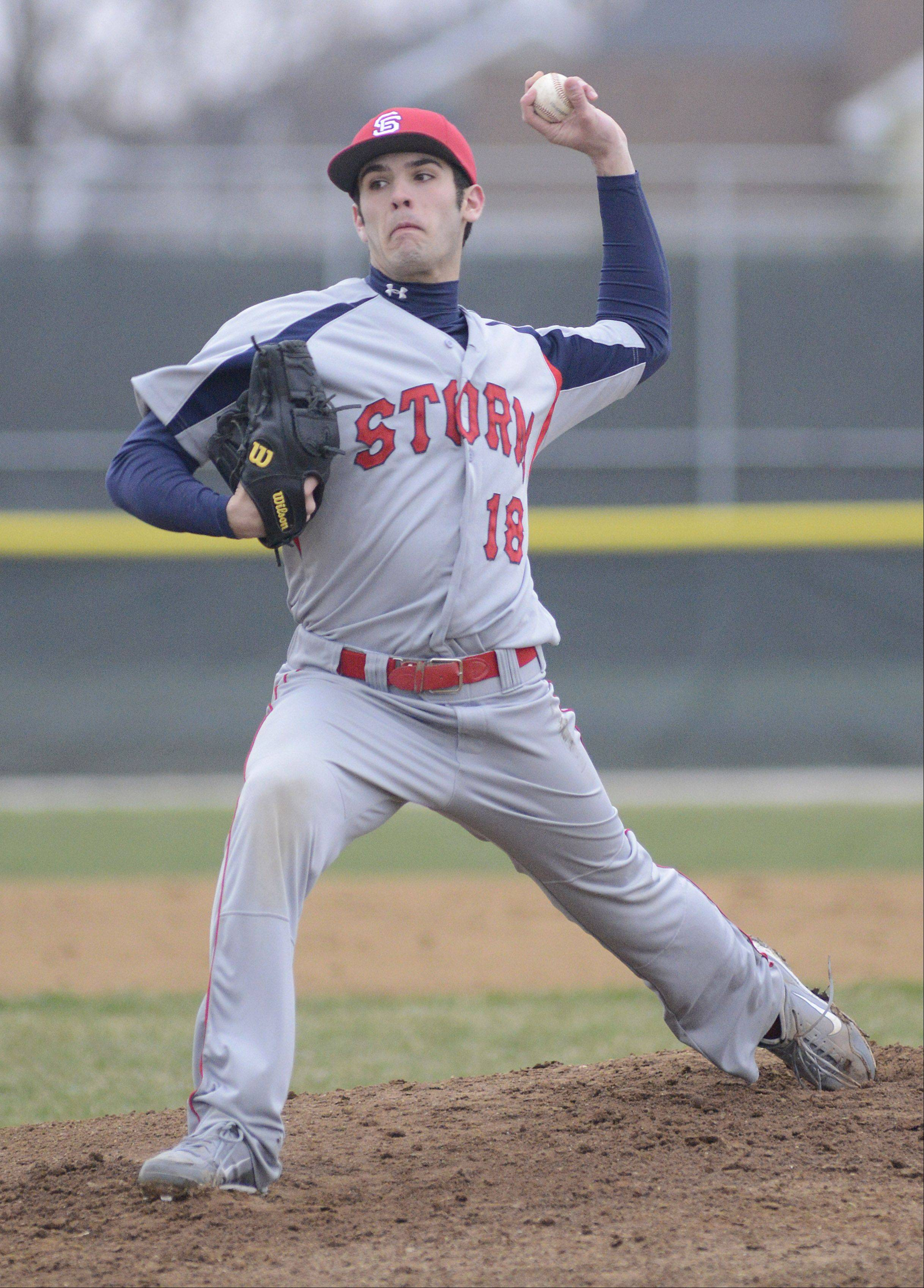 South Elgin pitcher Joe Crivolio on Friday, April 12.