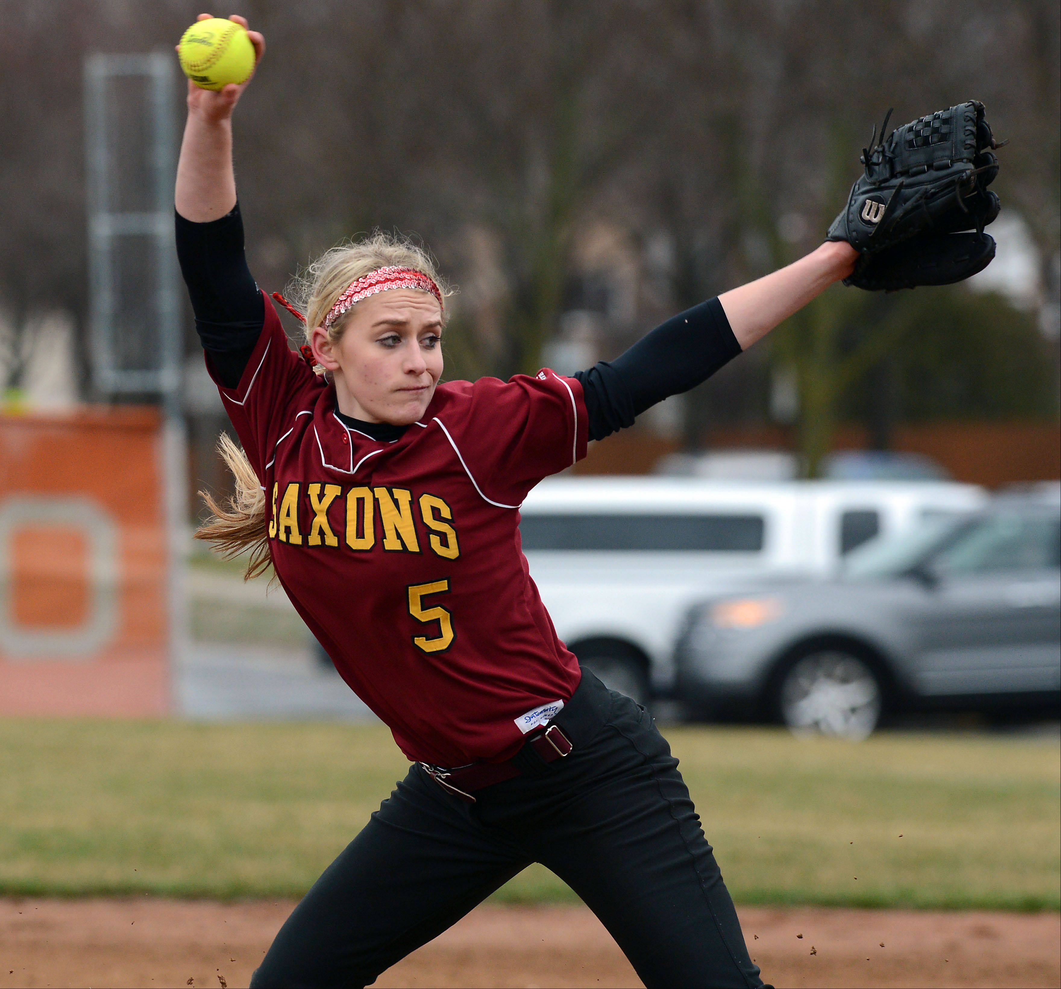 Schaumburg's Shannon Felde delivers during her no-hitter against Hersey in a 13-1 victory at Hersey on Friday.