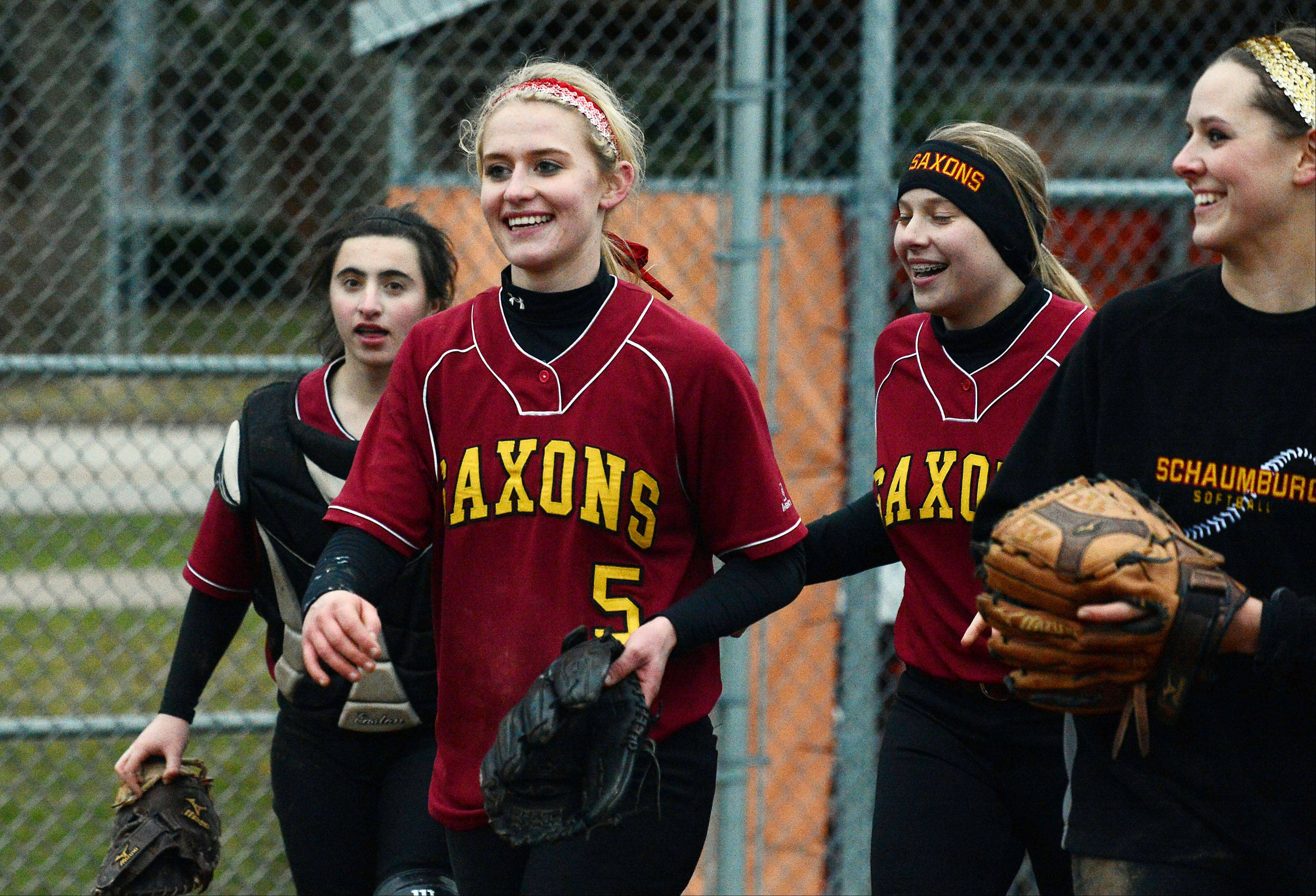 Schaumburg's Shannon Felde is all smiles after she pitched a no-hitter against Hersey in a 13-1 victory at Hersey on Friday.