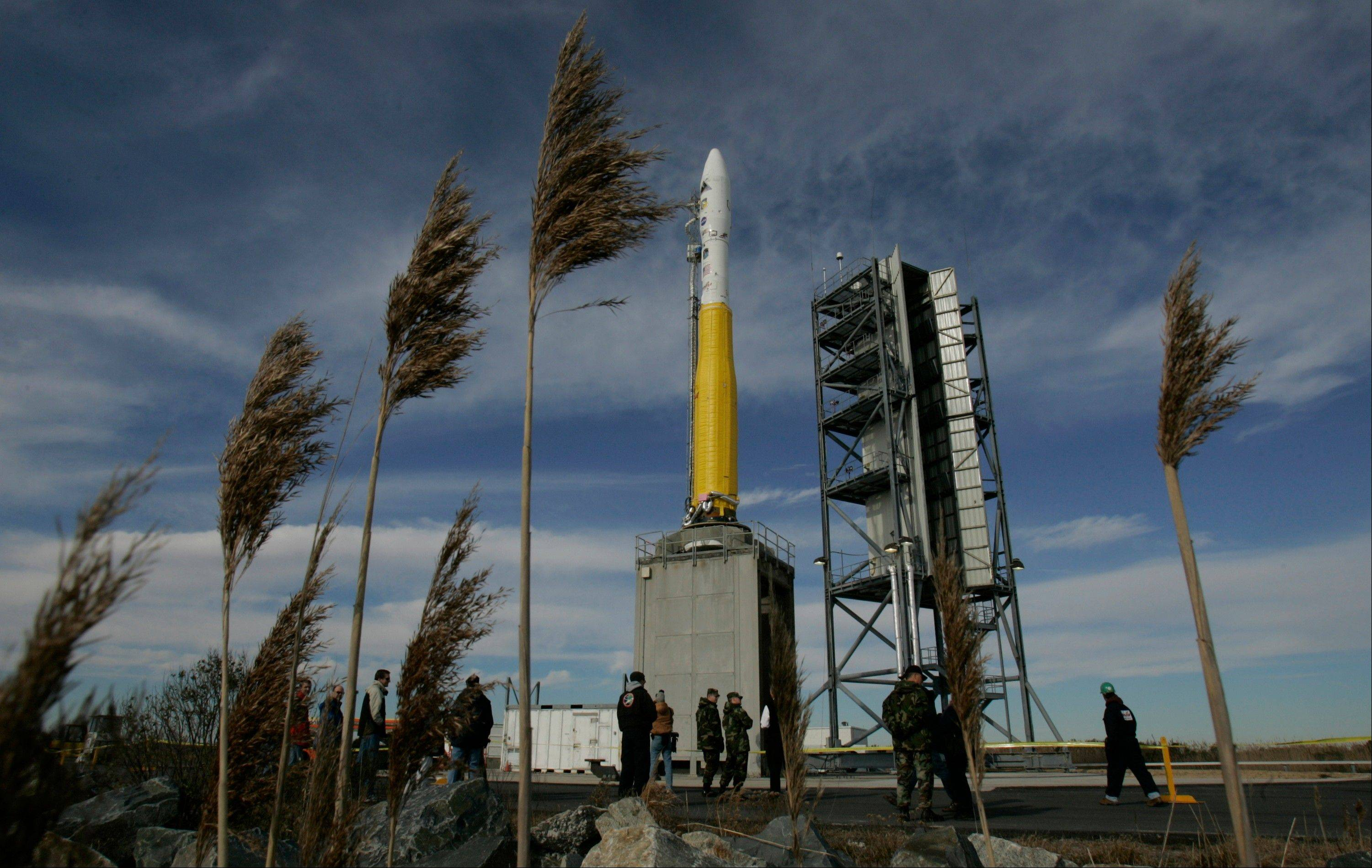 Associated Press/Dec. 9, 2006The Orbital Science Corp Minotaur 1 rocket sits on its launch pad at NASA's Wallops Flight Facility in Wallops Island, Va.