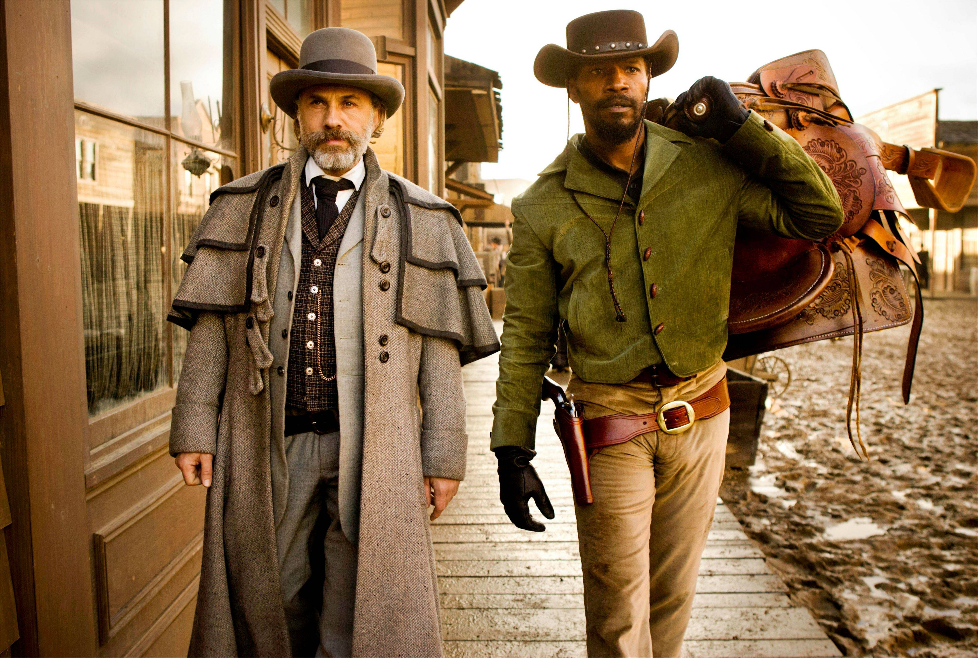 "Christoph Waltz and Jamie Foxx star in ""Django Unchained,"" coming out on DVD."