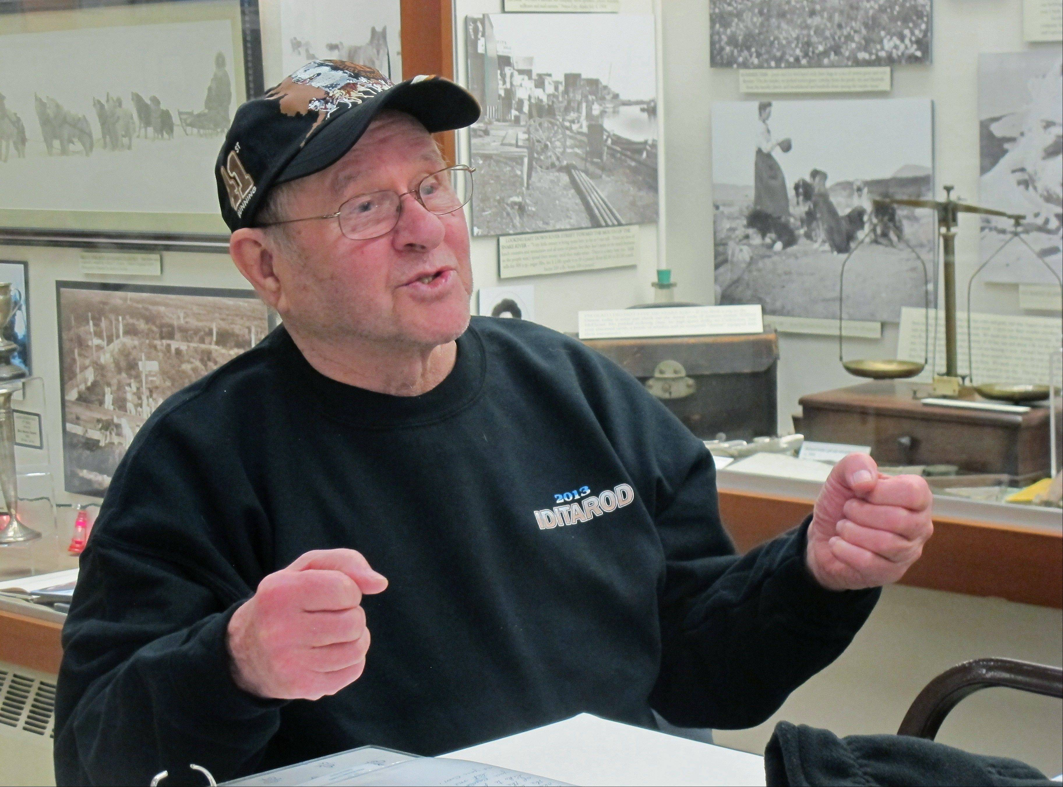 Howard Farley speaks about the history of the Iditarod Trail Sled Dog Race during a presentation at the Carrie M. McLain Memorial Museum in Nome, Alaska.