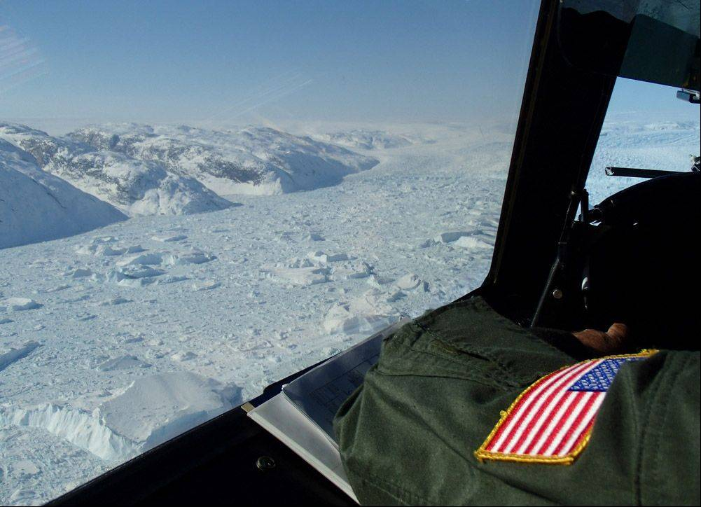 This is a view of Greenland from the an Operation IceBridge plane.