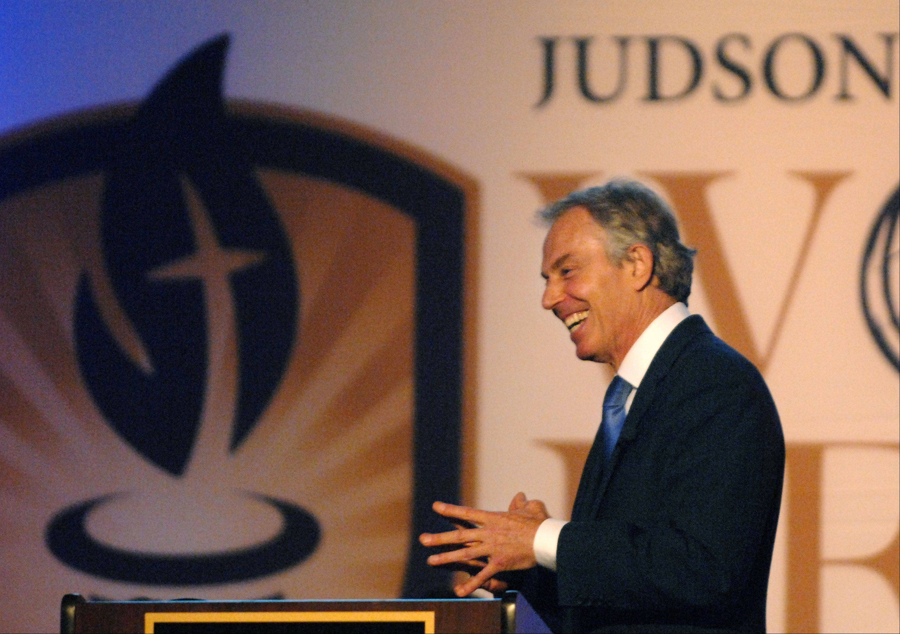 Rick West/rwest@dailyherald.comFormer British Prime Minister Tony Blair speaks at the World Leaders Forum at Judson University's Herrick Chapel Friday night.
