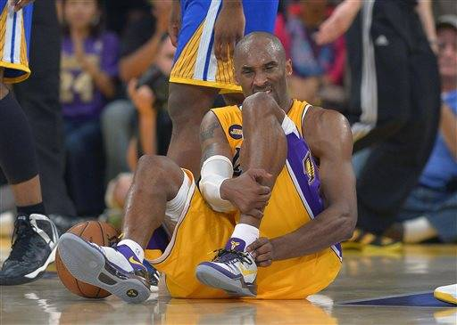 Kobe Bryant pushed his fraying body and his Los Angeles Lakers teammates relentlessly through the second half of a vital game until he felt a searing pain in his left heel. Bryant's Achilles' tendon apparently is torn. His season likely is over. And though the Lakers held on to beat Golden State, Bryant thinks they'll have to continue their playoff chase without their leader.