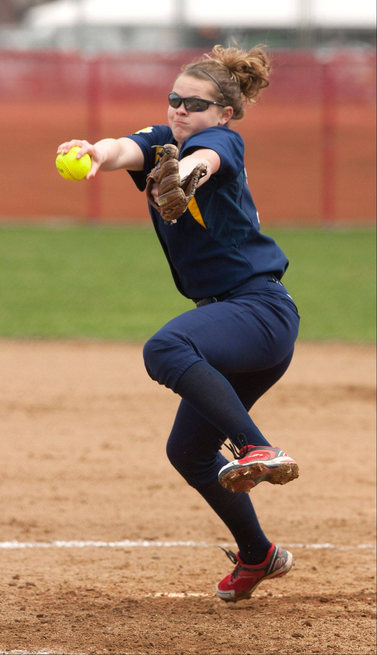 Neuqua Valley pitcher Megan Bilgri delivers a pitch at Naperville Central on Saturday.