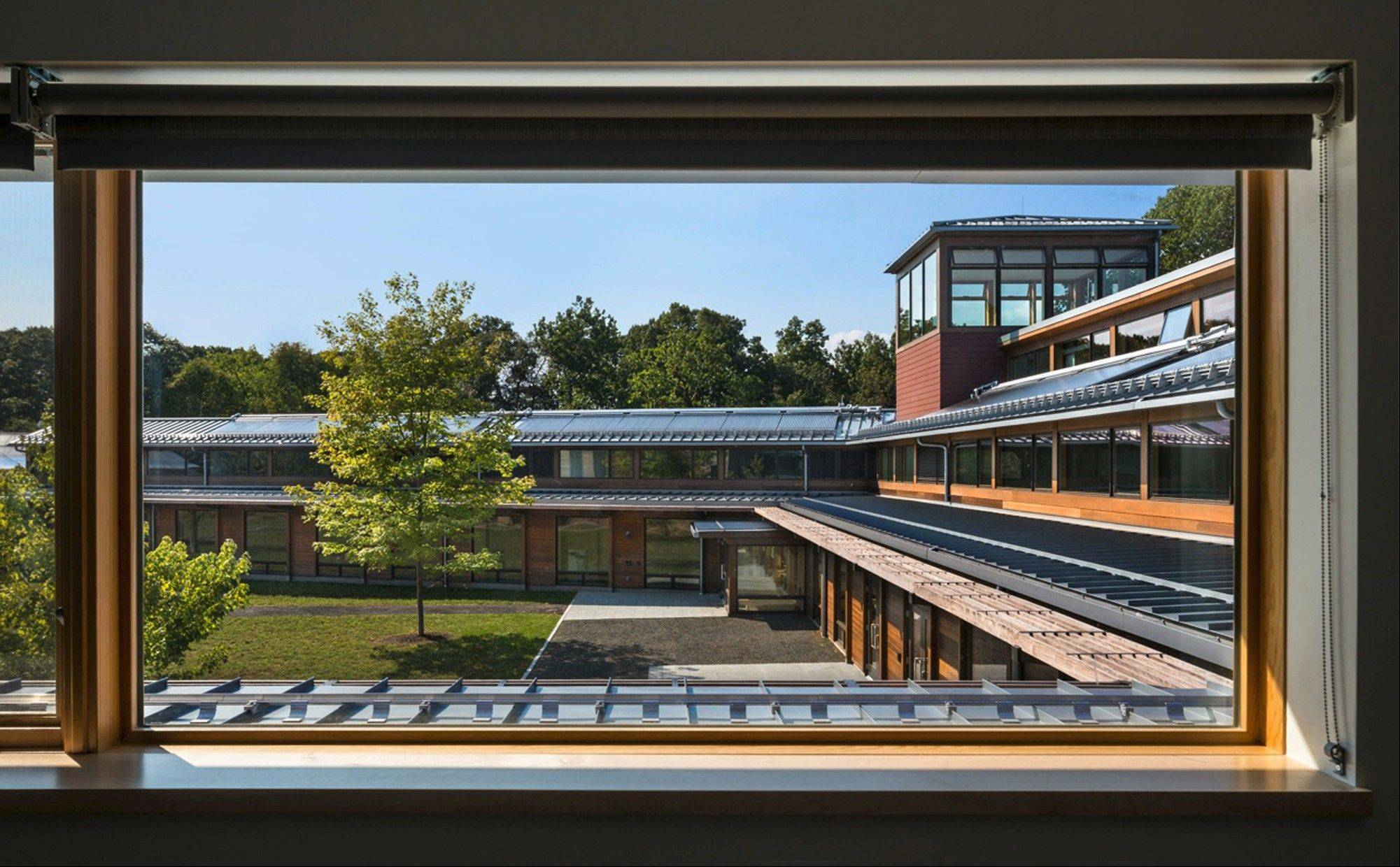 The U-shaped Kohler Environmental Center, part of the Choate Rosemary Hall preparatory school in Wallingford, Conn., achieves net-zero energy use through an array of tactics.