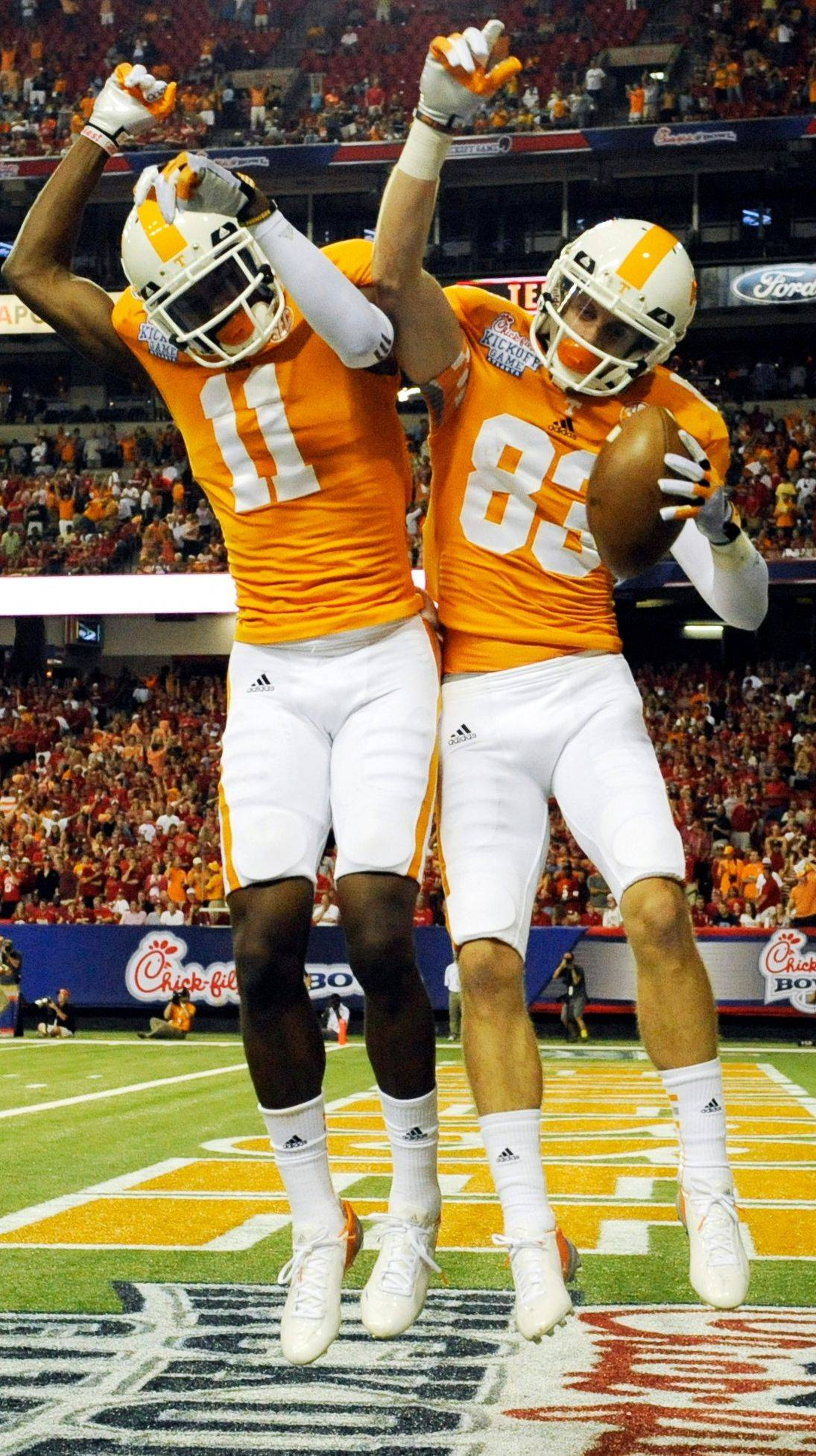 Tennessee's Justin Hunter (11) caught 73 passes last season for 1,083 yards and 9 TDs. He may be the first wide receiver taken in the NFL draft later this month.