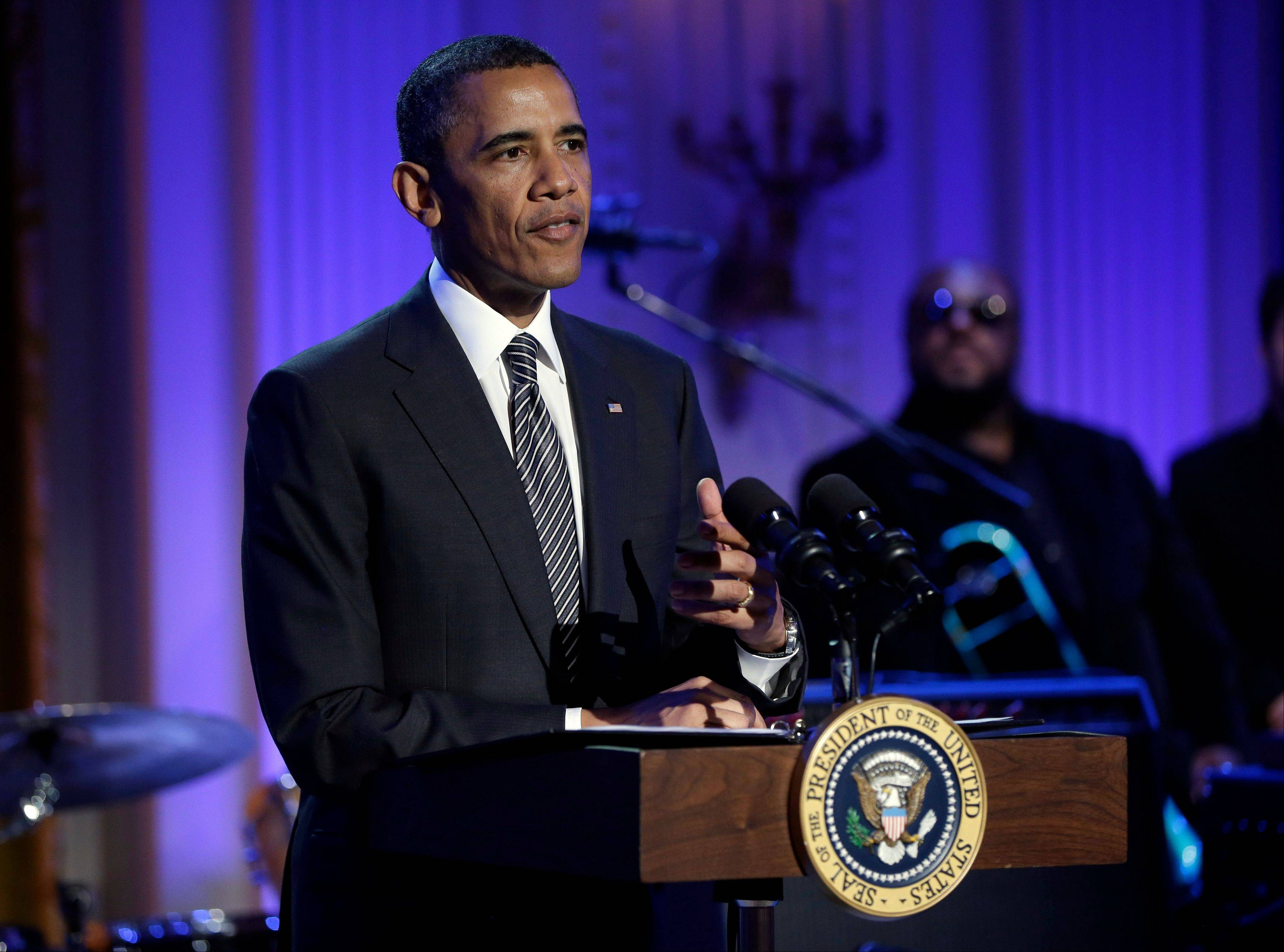 "President Barack Obama speaks during the ""In Performance at the White House"" in the East Room of the White House in Washington, Tuesday, April 9, 2013, a program for a celebration of Memphis Soul Music."