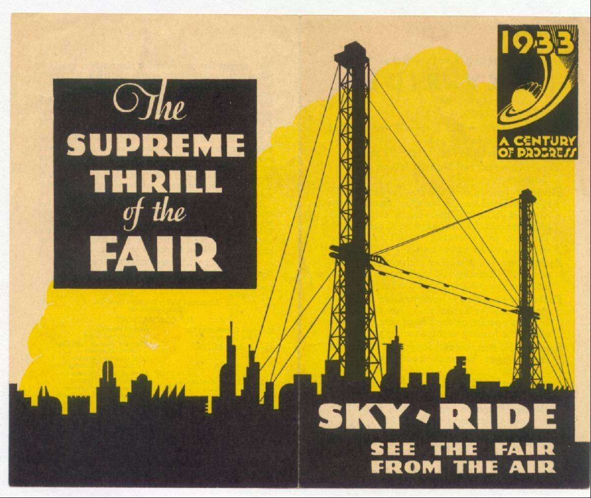 A flier for the skyride at the 1933 World's Fair is one of the items featured at the 19th annual World's Fair Memorabilia Show.