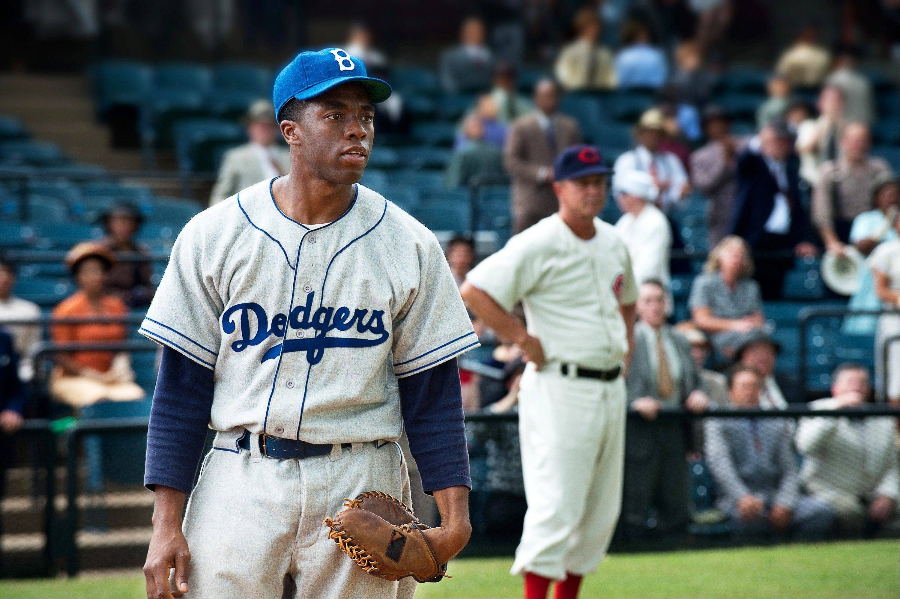 "Chadwick Boseman plays baseball great Jackie Robinson in the new film ""42"" about Robinson's life."