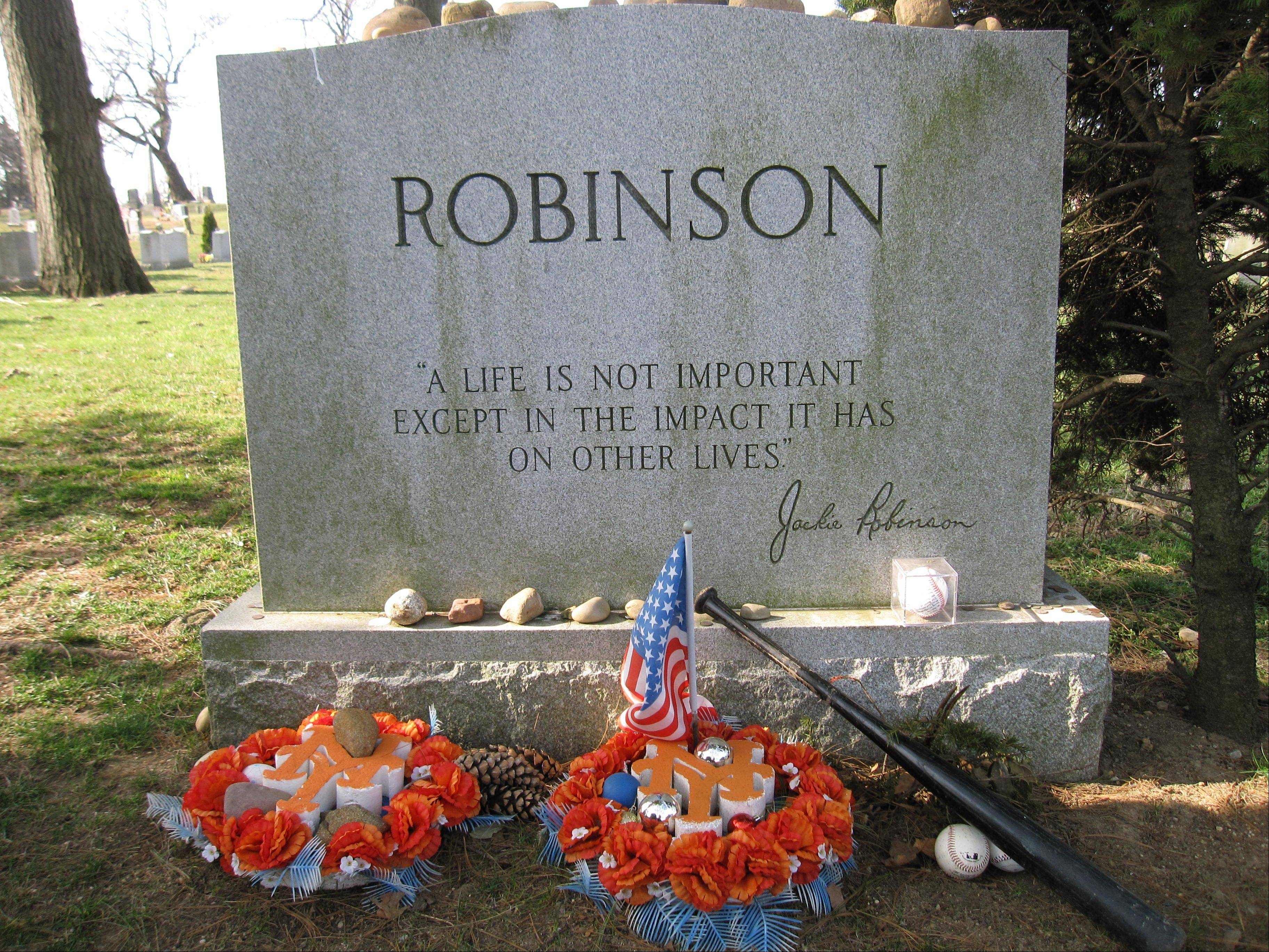Jackie Robinson's gravesite, where fans still leave tributes to the man who integrated Major League Baseball when he joined the Brooklyn Dodgers in 1947.