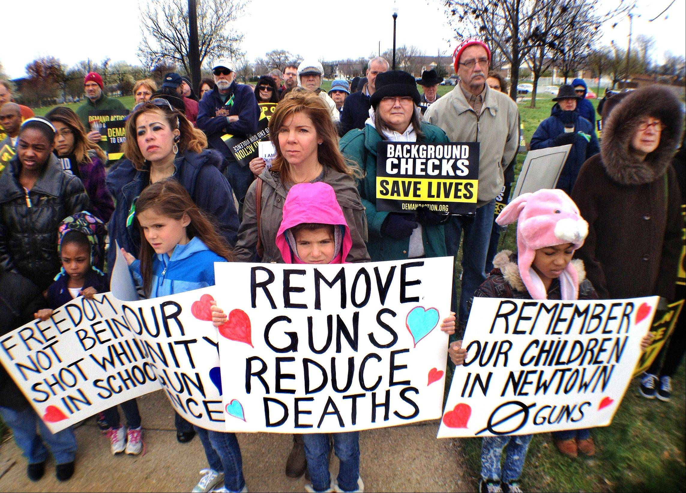 About 75 adults and children turned out for a gun control rally in Indianapolis Saturday. The rally was sponsored by Organizing for Action, Mayors Against Illegal Guns and Hoosiers Concerned About Gun Violence.