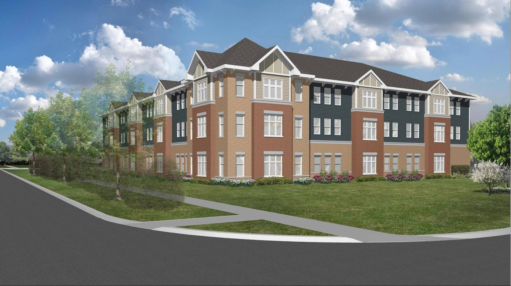 Rendering of Catherine Alice Gardens, a proposed facility in Palatine consisting of 33 leased apartments for people with disabilities.