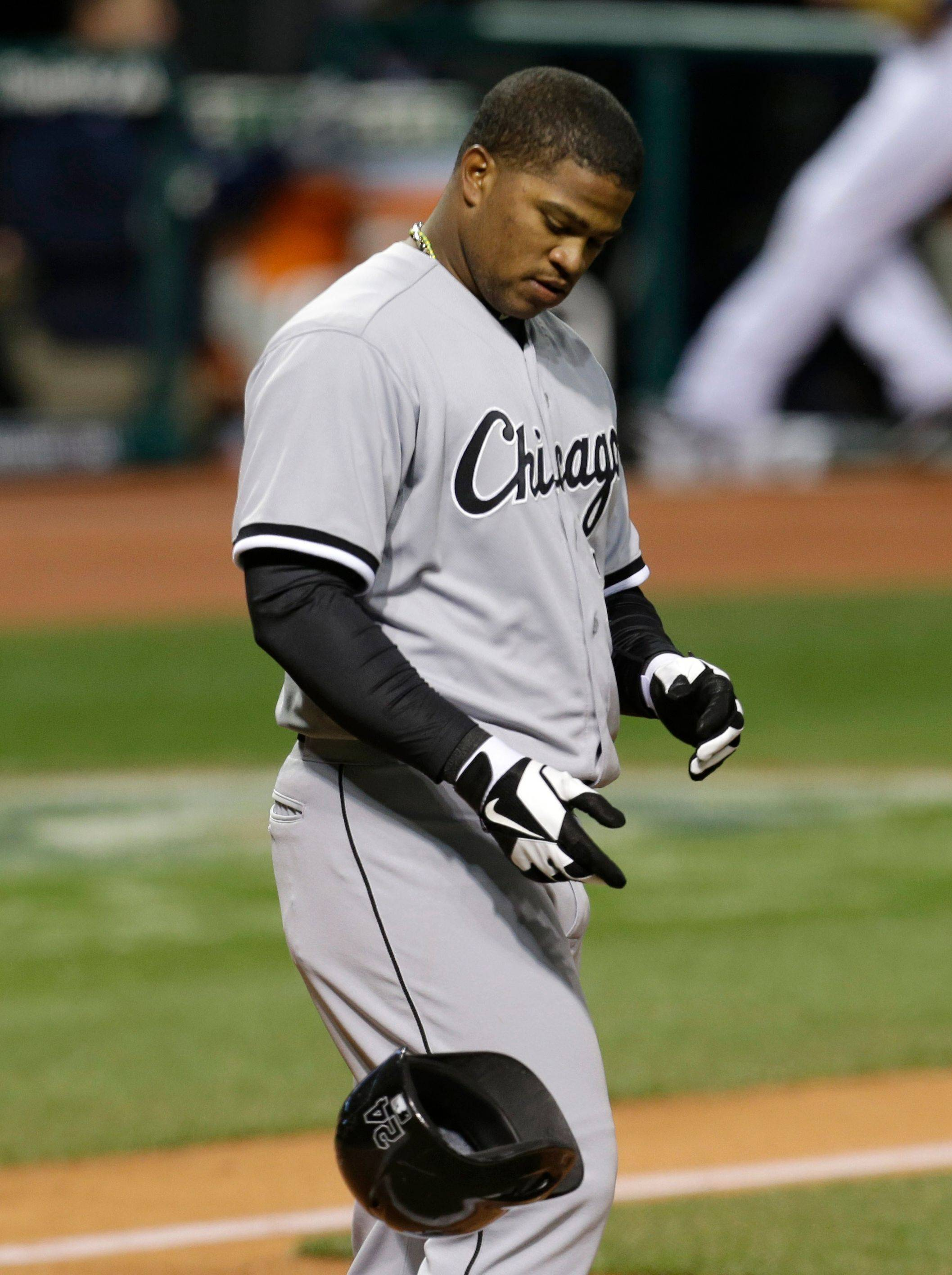 Dayan Viciedo tosses his helmet after striking out Friday in Cleveland. Viciedo is hitting just .118 on the young season, one of five White Sox hitters in Sunday's lineup who were .213 or worse.