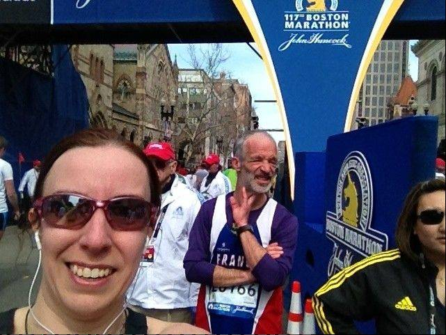 Runner Jenny Norton of Lisle took a photo of herself shortly after completing the Boston Marathon. Two minutes later, she says, she heard the two explosions.