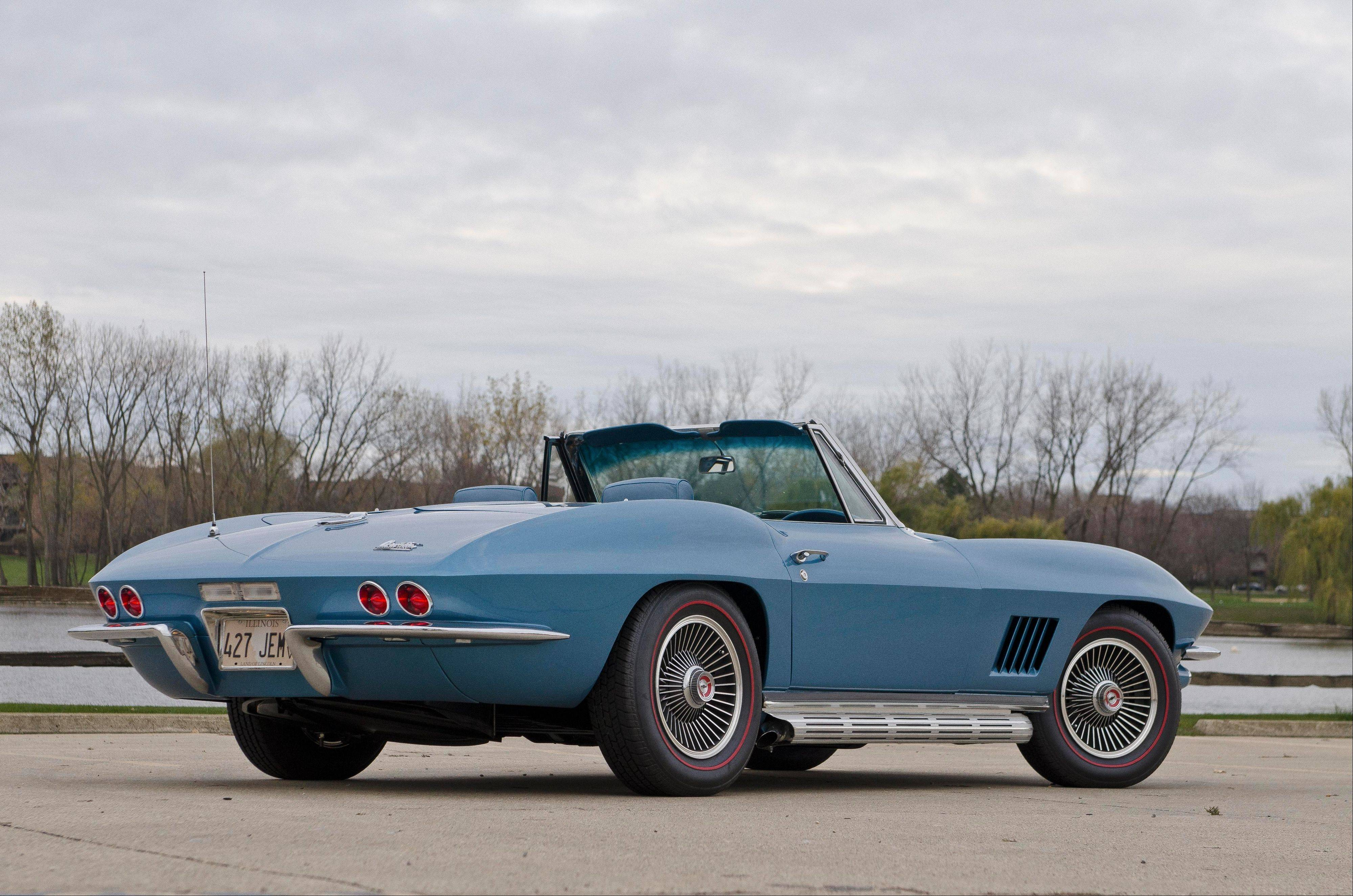 The 1967 Corvette's distinct side-exiting exhausts have been retained.