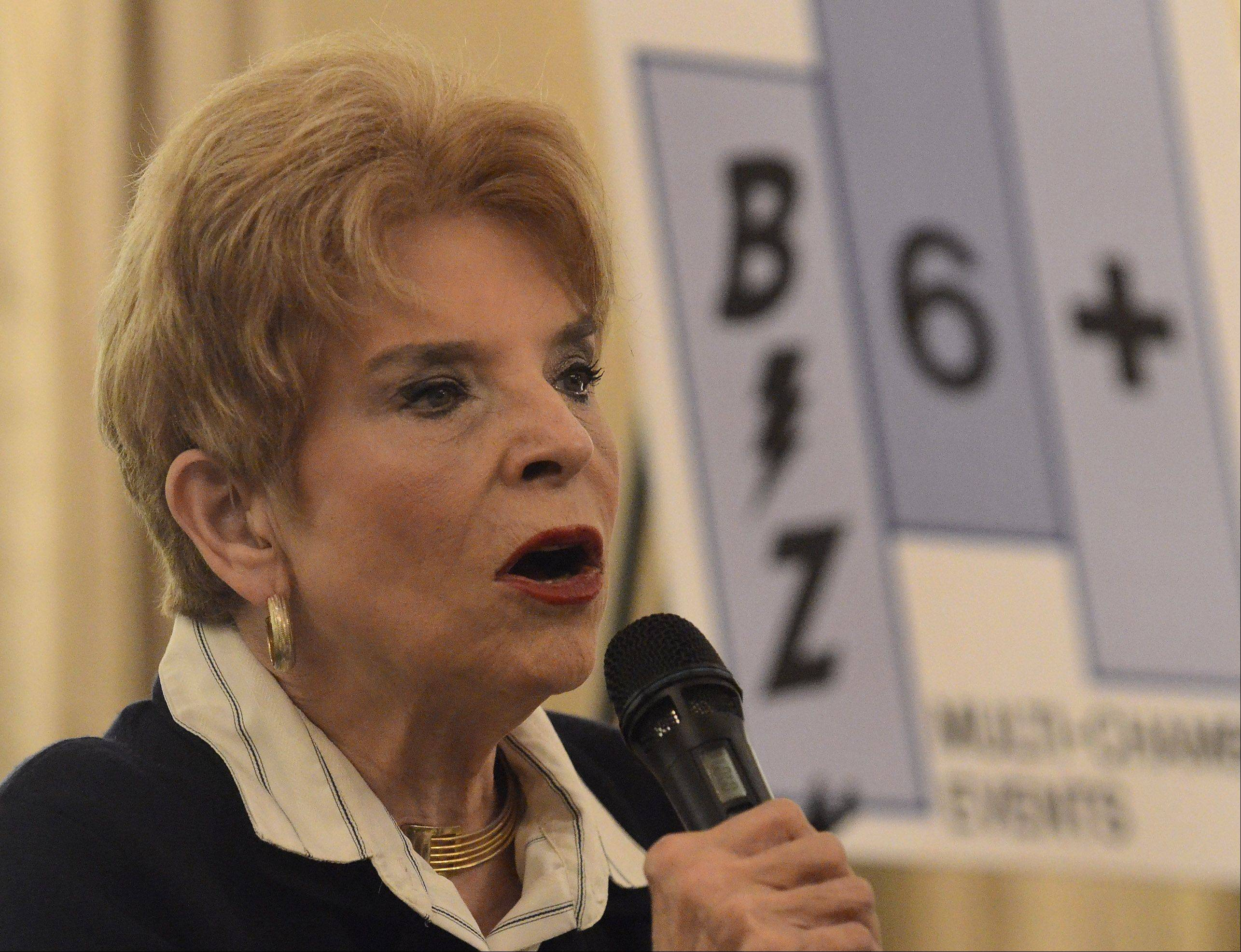 Comptroller Judy Baar Topinka railed against the state's late payments to vendors.