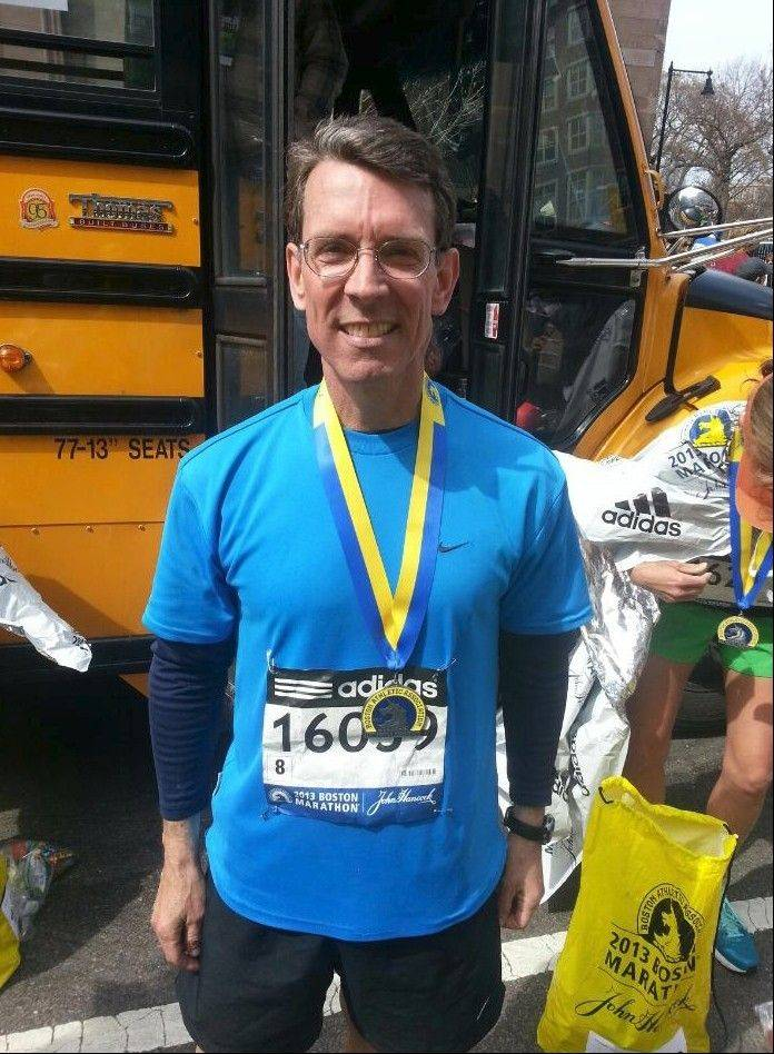 Arlington Heights Mayor-elect Thomas Hayes finished the Boston Marathon about an hour before two explosions injured dozens near the race's finish line Monday.