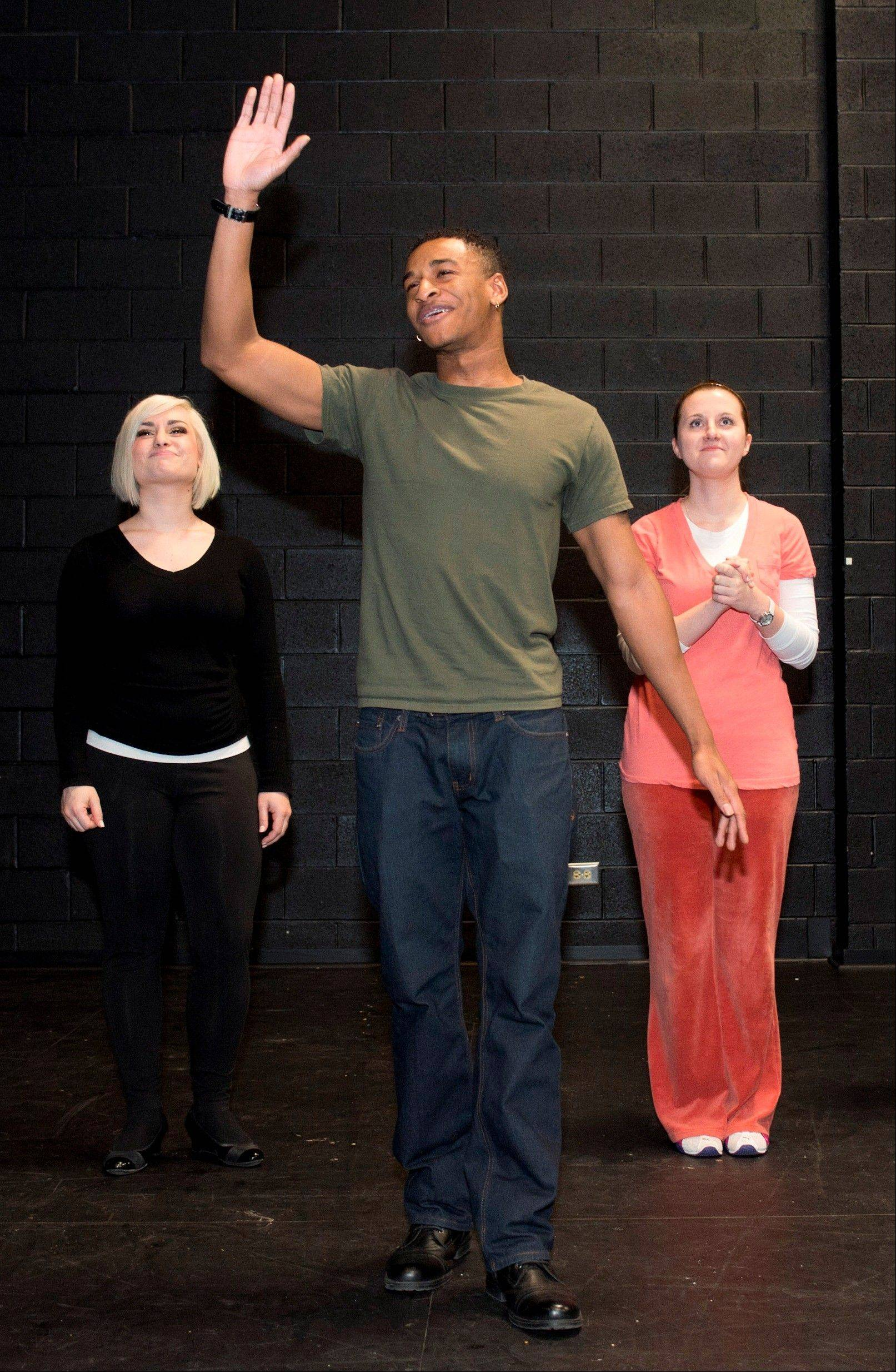 "From left, Alisa Goldberg of Algonquin, Julien Moore of Elgin, and Paula Smiech of Streamwood rehearse for ECC's production of ""Our Lady of the Underpass."""