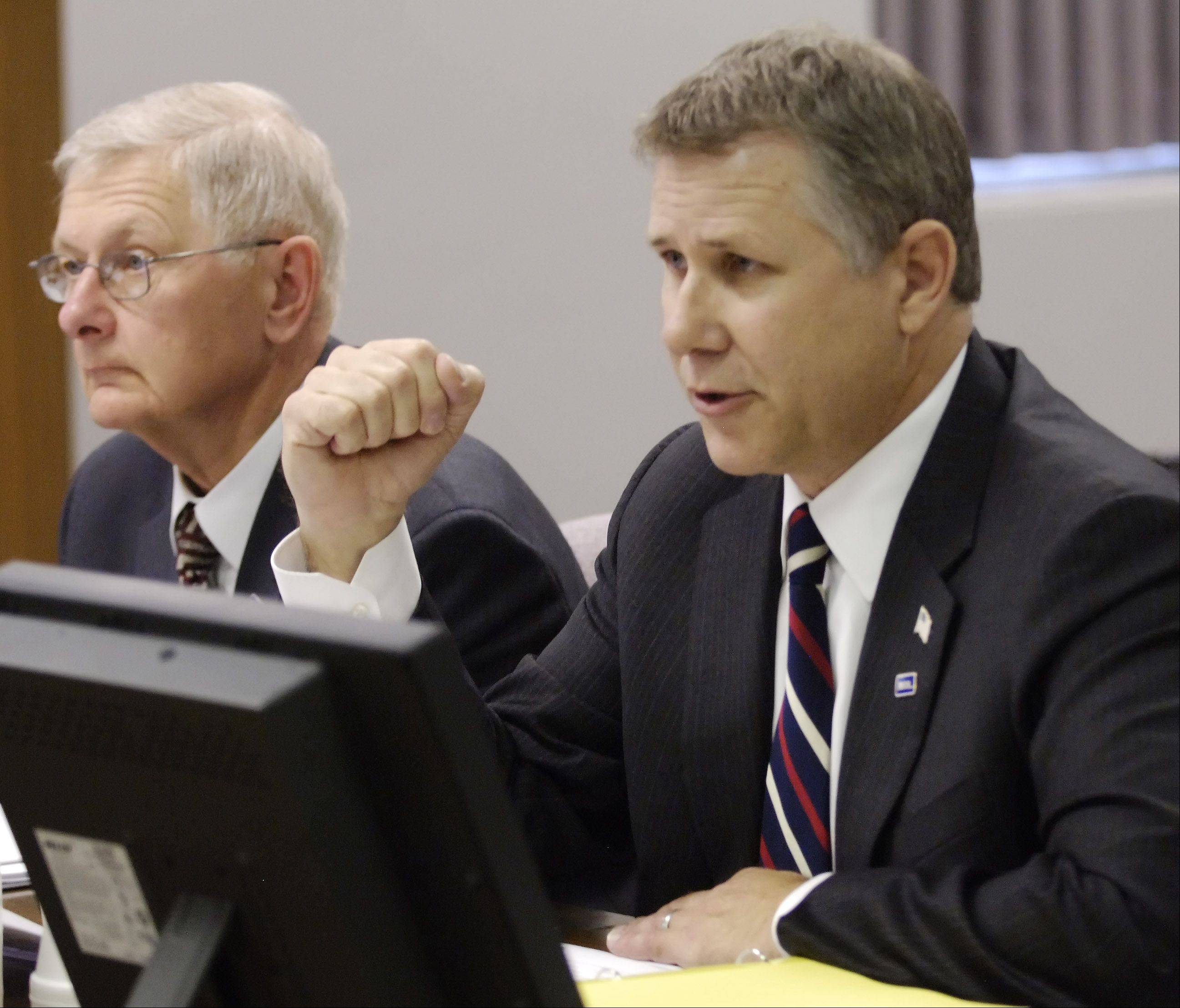 "Metra CEO Alex Clifford addresses board members during a discussion on fare increases in 2011. Some are questioning Metra's use of a public relations firm Clifford said was hired to help handle ""crisis situations."""