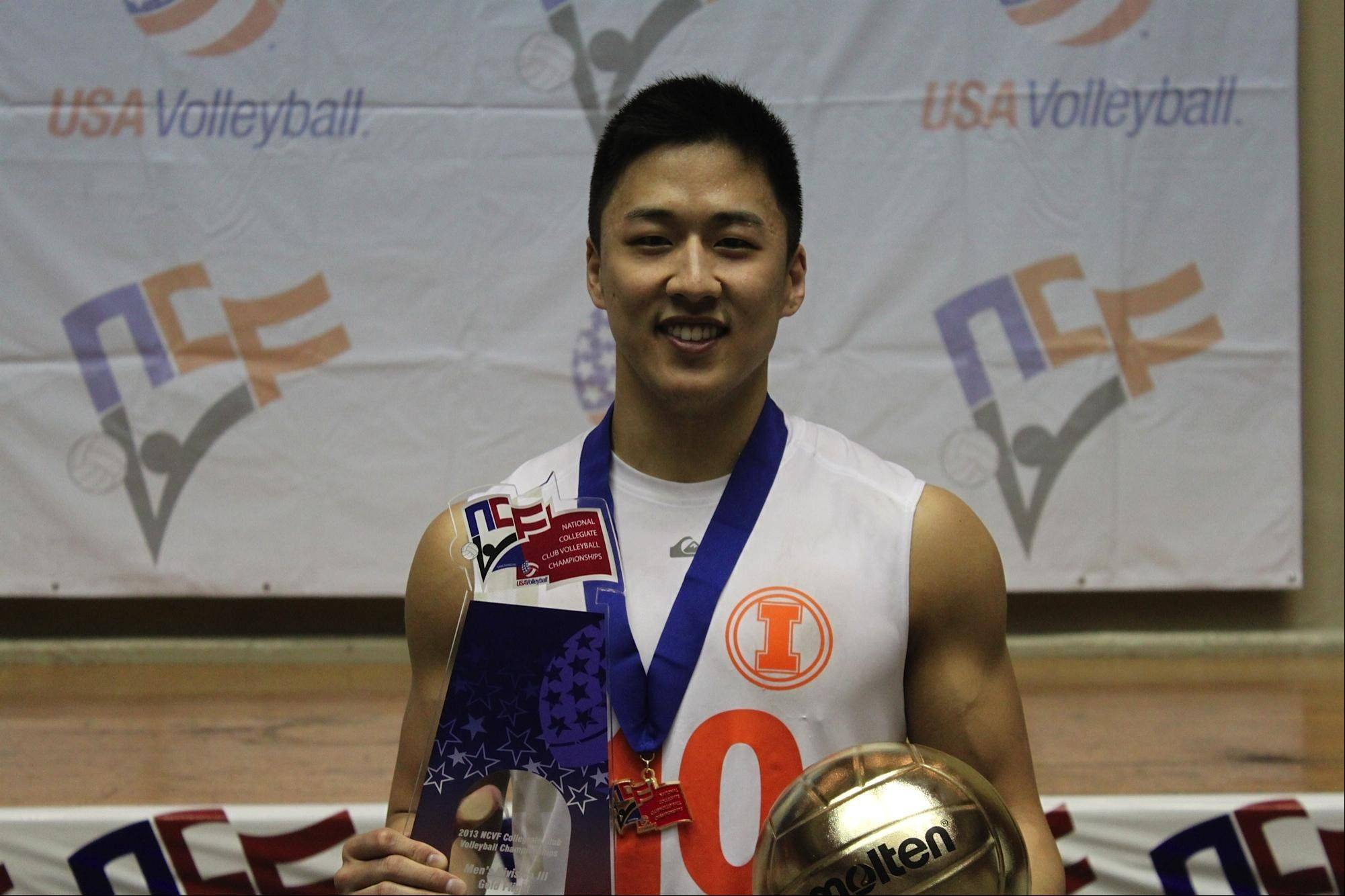 Ernie Choi helped lead his University of Illinois Orange D-III team to the championship of the NCVF National Collegiate Club Volleyball championships in Dallas, Texas.