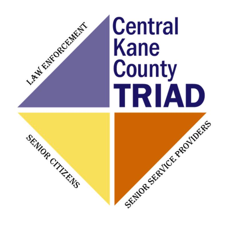 The Central Kane County TRIAD's logo symbolizes the three groups that come together to protect area seniors.