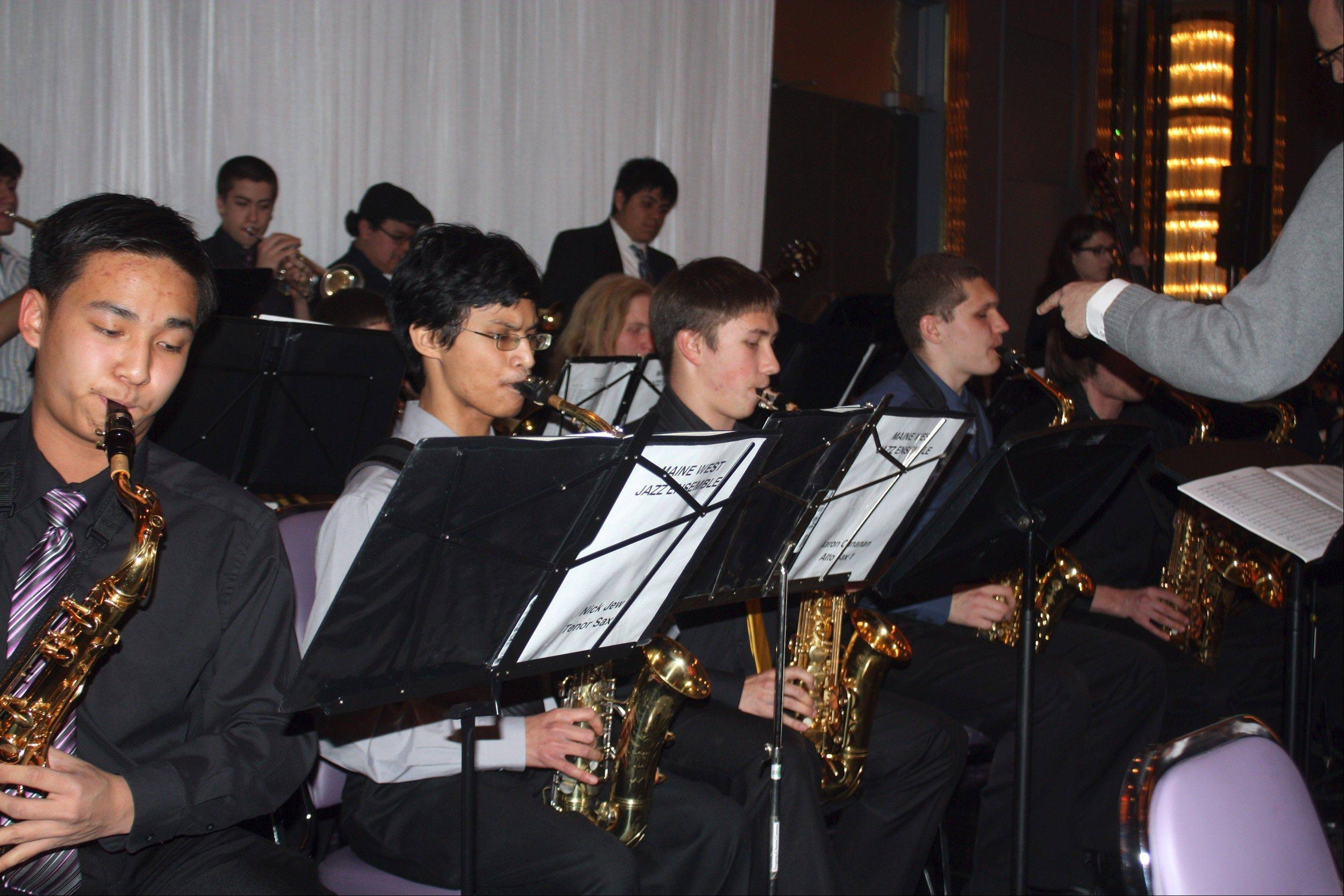 Maine West Jazz Ensemble, under the direction of Bernie Gerstmayr, performs during the recent District 207 Educational Foundation benefit dinner.