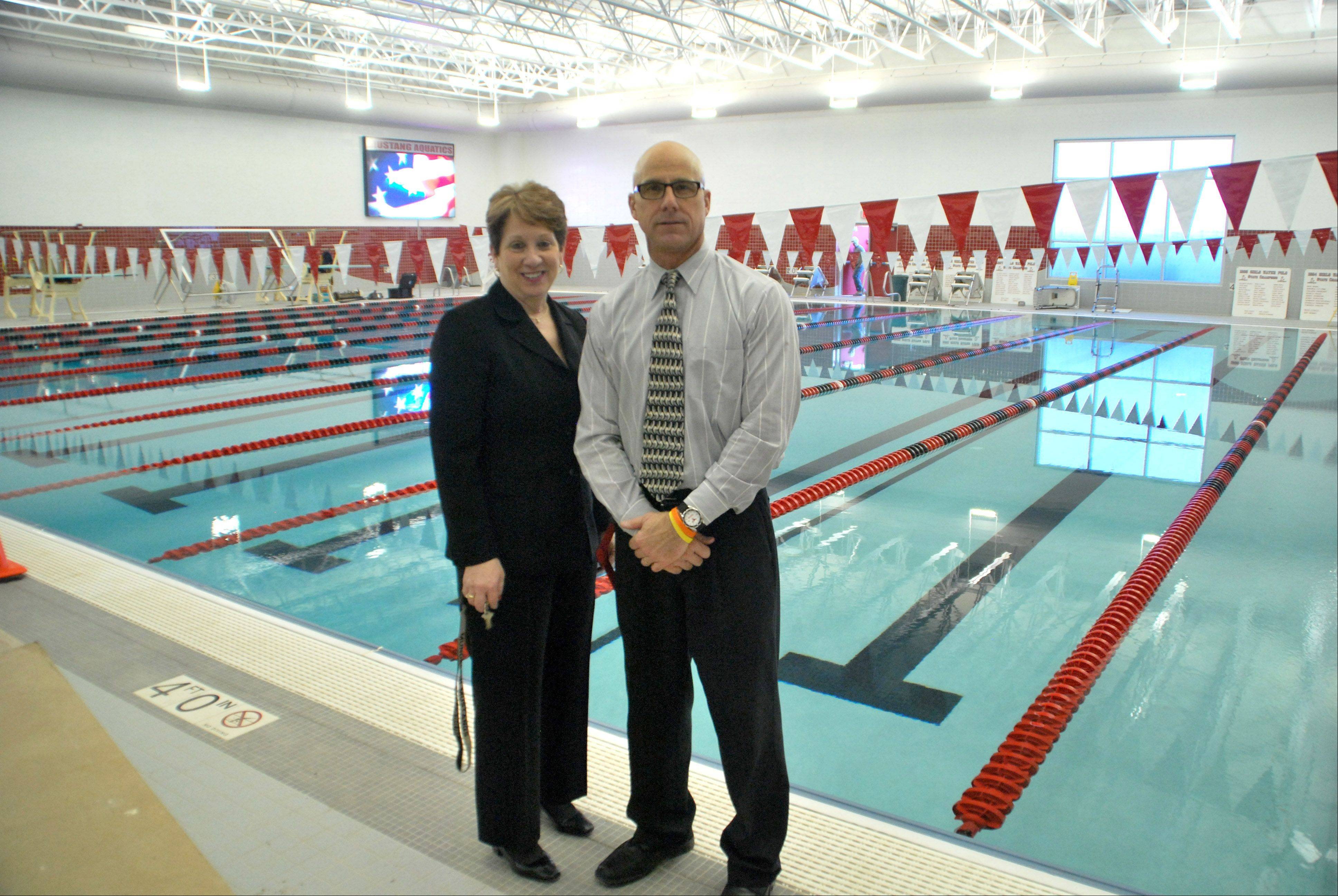 Superintendent Jody Ware and Athletic Director Perry Wilhelm at the Mundelein High School pool, after recent improvements.