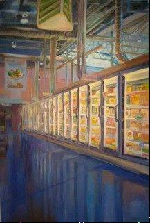 Antonia Crook's large-scale painting shows an aisle in a supermarket.