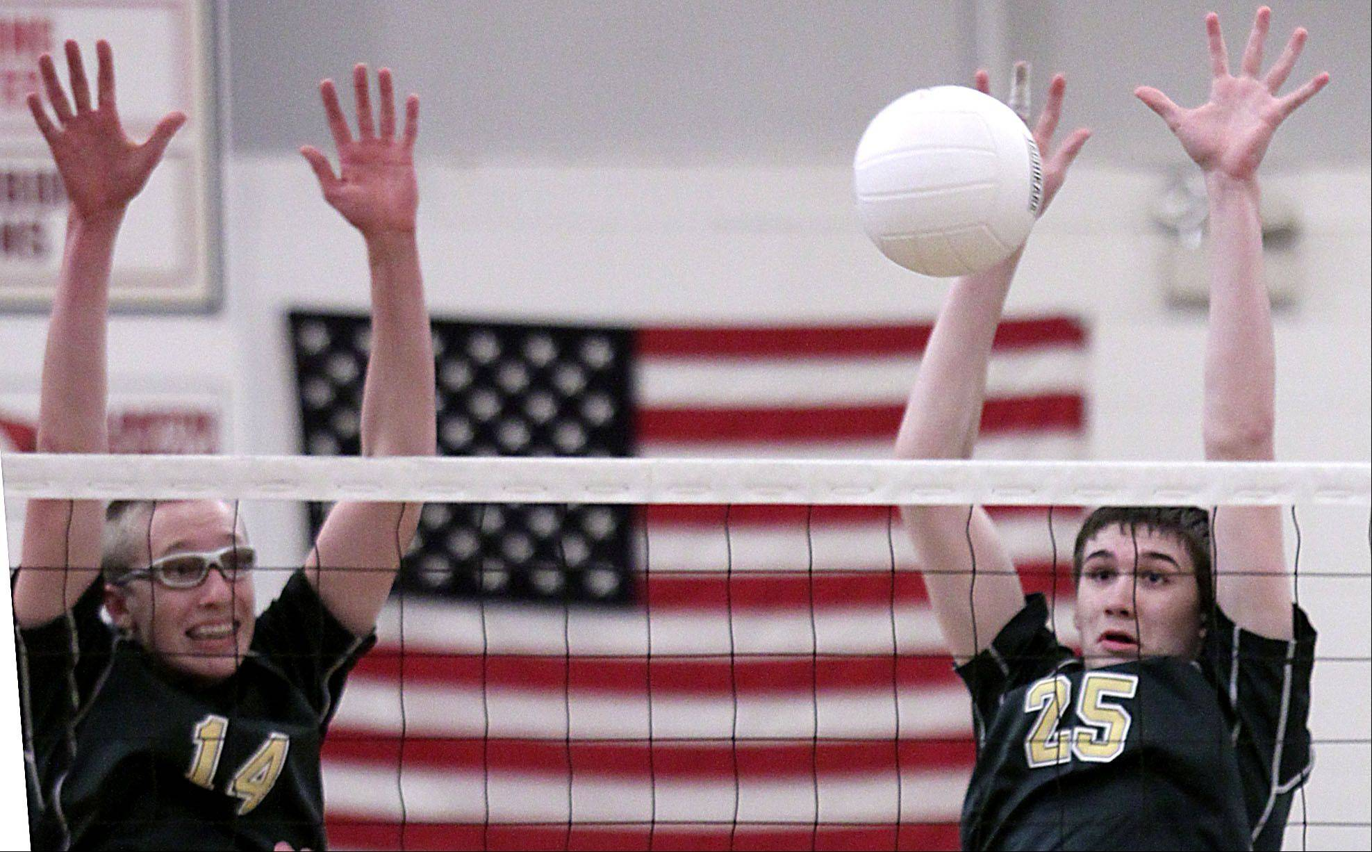 Elk Grove's Ray Kraus, left, and Sam Jasutis block against Buffalo Grove on Tuesday at Elk Grove.
