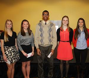 The 2013 Scholarship winners include (shown in photo from left to right) Julia Bauschke, Grayslake North High School; Alyssa Sheppard, Antioch Community High School; Rodney Lambright II, Jerome I Case High School; Jordan Draegert, Wauconda High School; and, Miranda Gomez, Grayslake Central High School.  Not shown in the photo is Andres Samano, Cristo Rey St. Martin