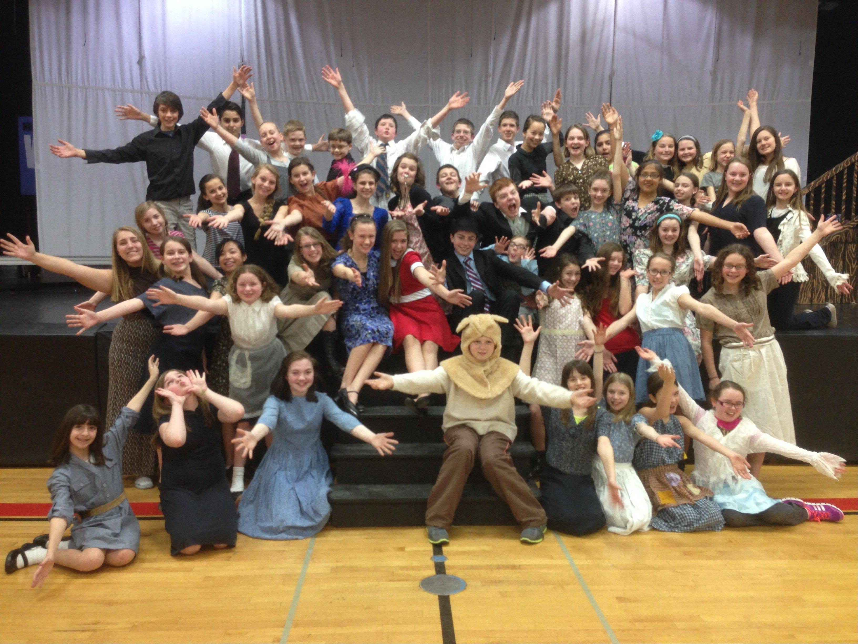 "The cast of ""Annie,"" at Lincoln School in Mount Prospect."