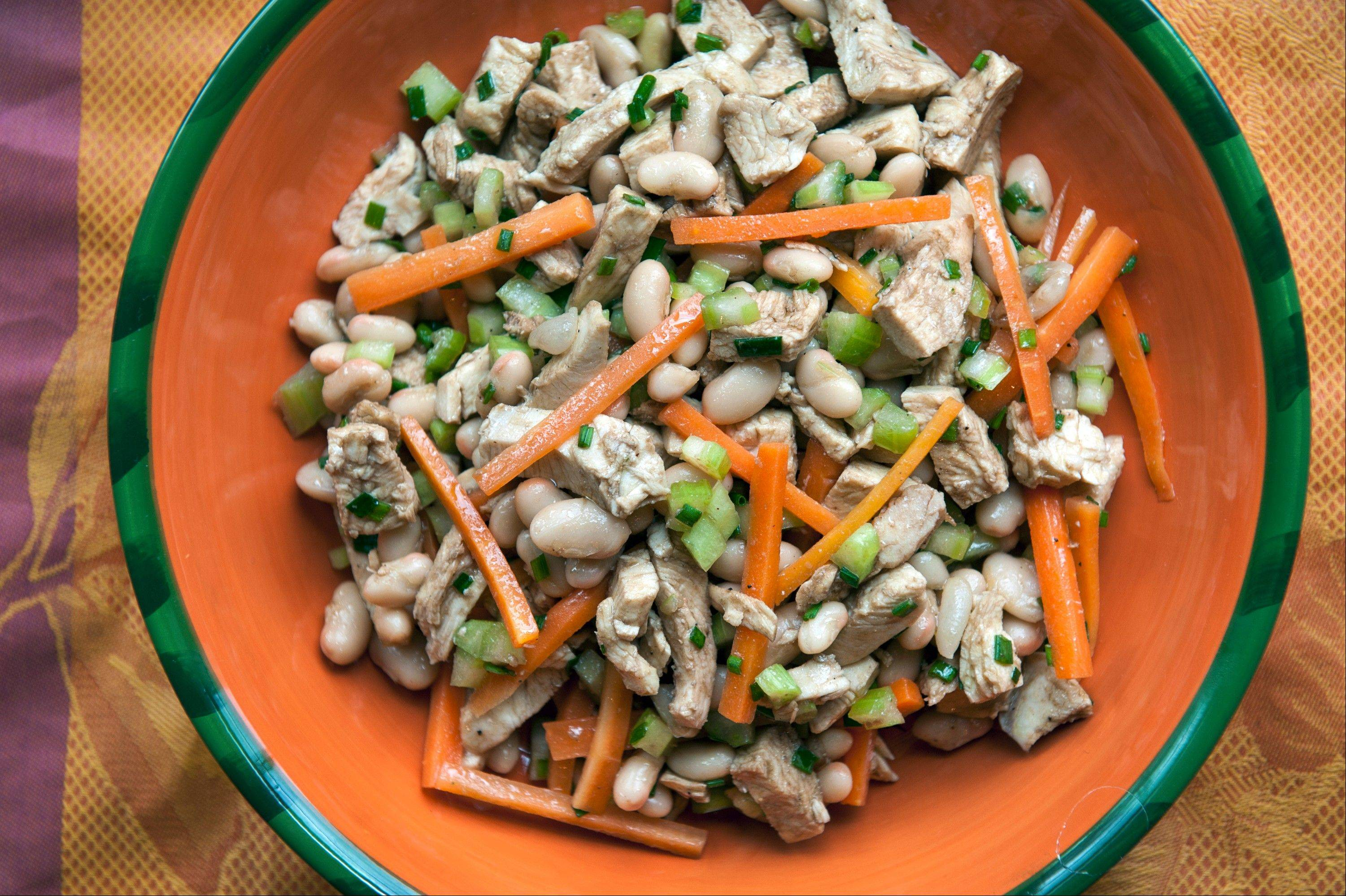 Balsamic Chicken, White Bean and Carrot Salad