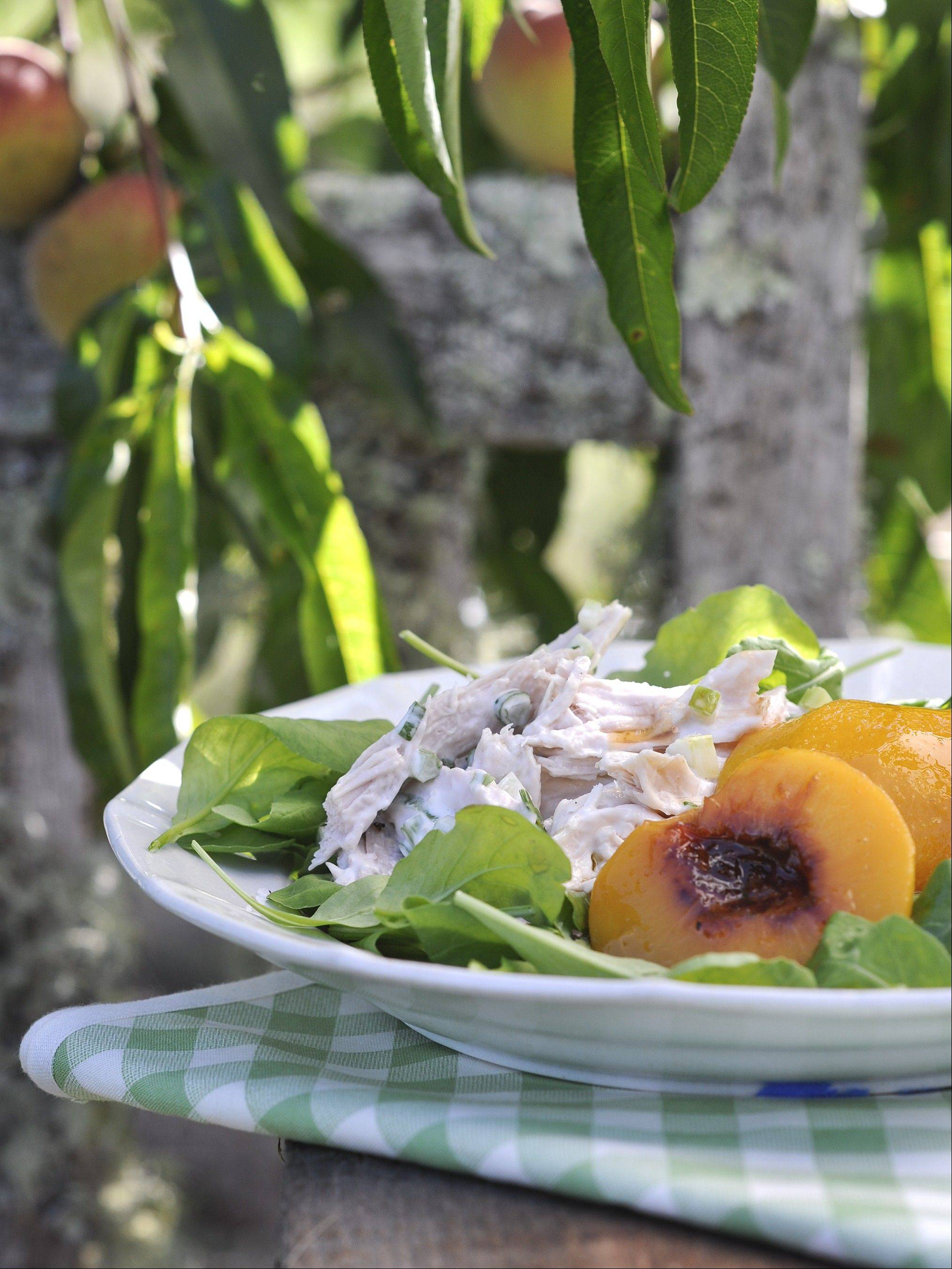 Chicken Salad with Spiced Peaches