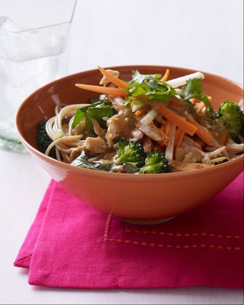 Apple, carrots and cilantro lighten this peanutty Thai Chicken Salad.