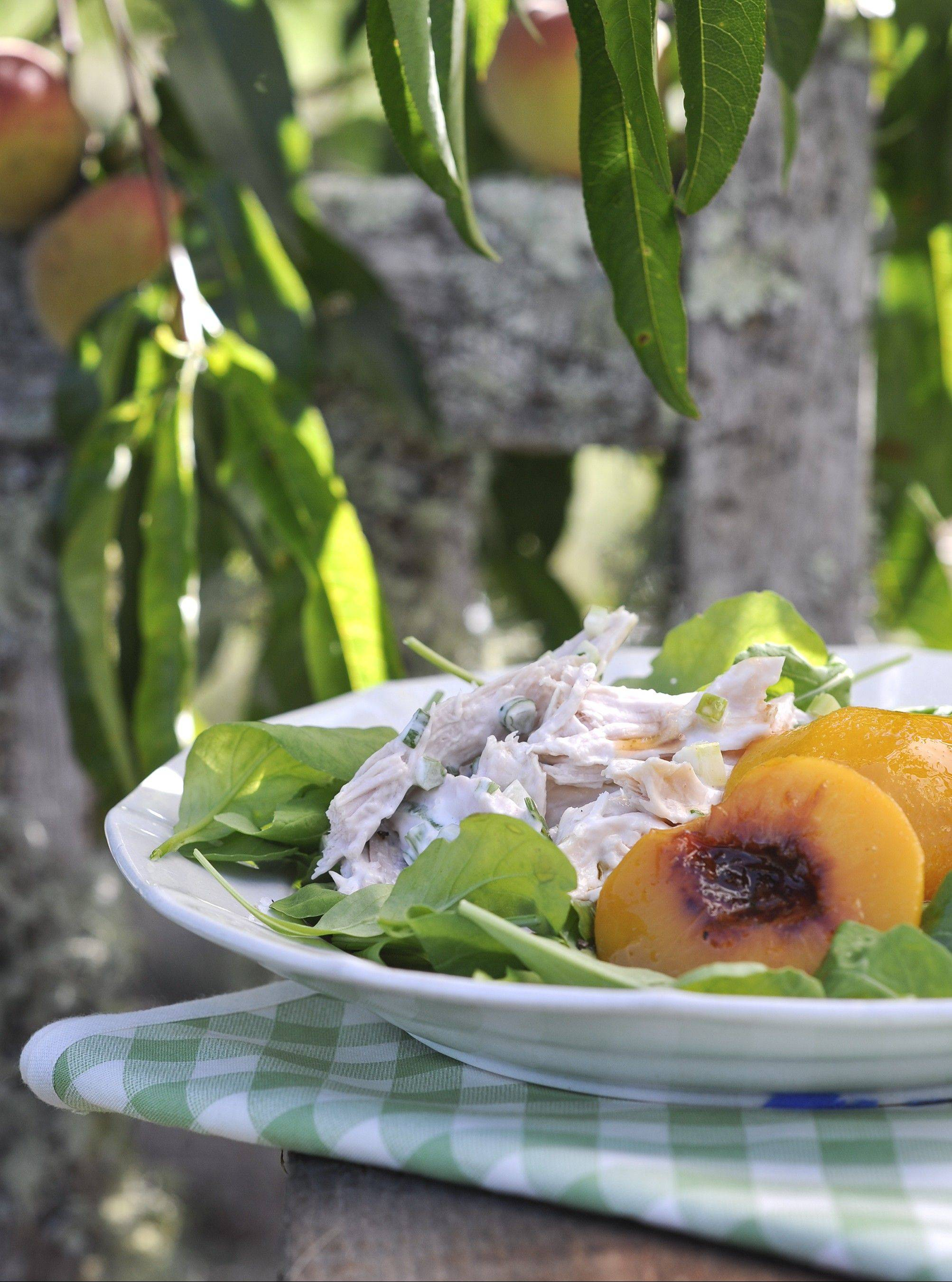 Spiced peaches brighten up chicken salad.