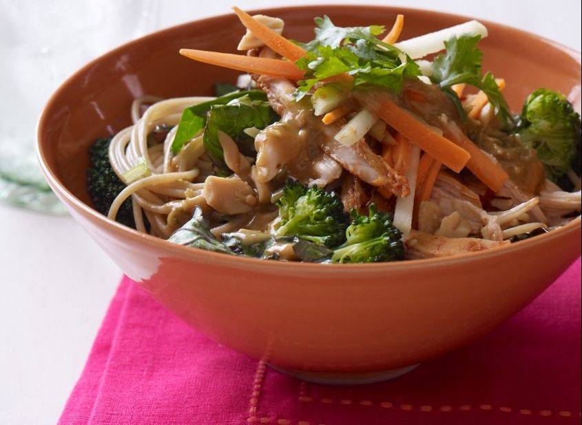 Apple, carrots and cilantro lighten the profile of this peanutty Thai Chicken Salad.