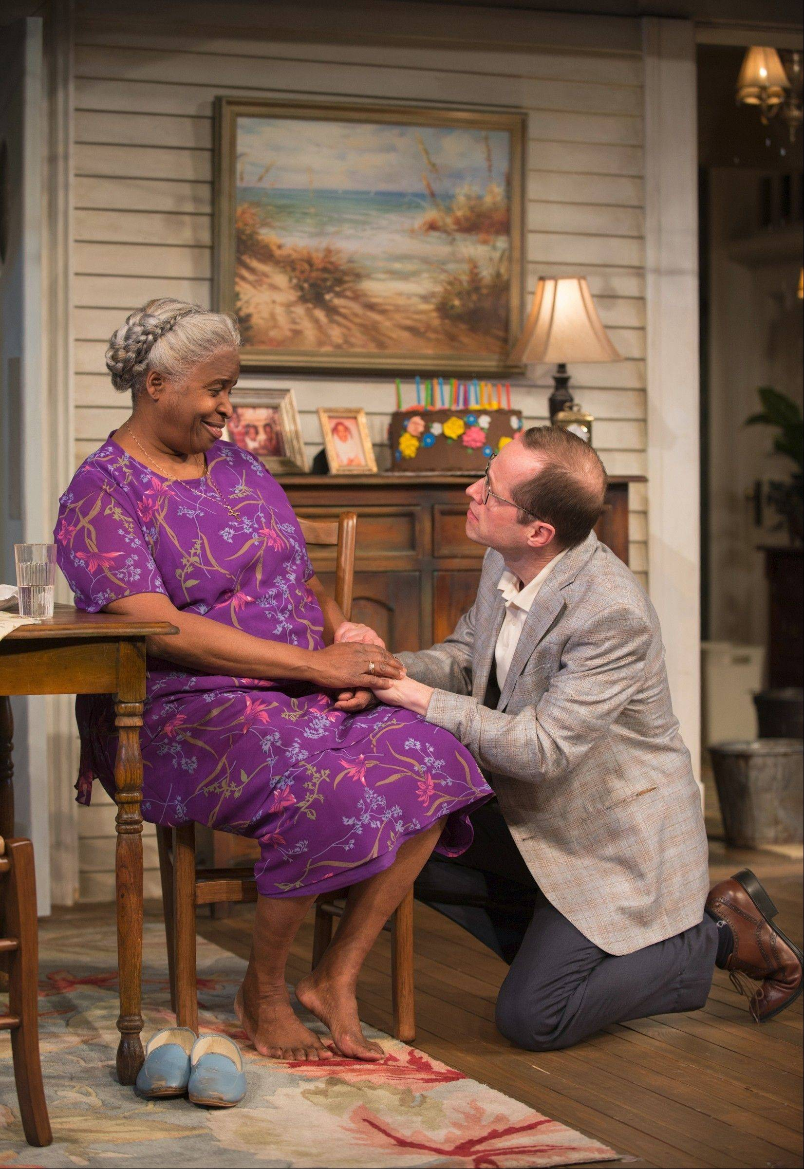 "Dr. Anderson (Tim Hopper) visits with ailing patient Shelah (Cheryl Lynn Bruce) in Steppenwolf Theatre Company's production of ""Head of Passes,"" written by ensemble member Tarell Alvin McCraney."