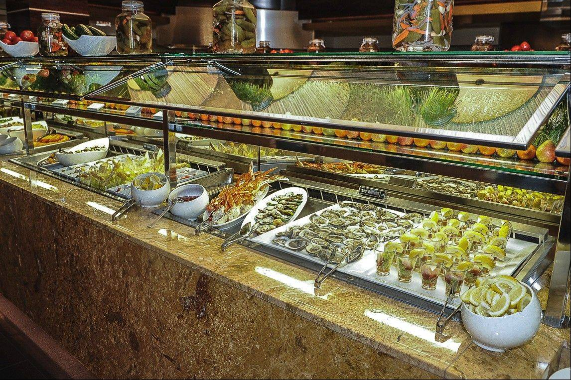 A specialty seafood buffet is offered Friday evenings at the Indulge Show Kitchen Buffet.