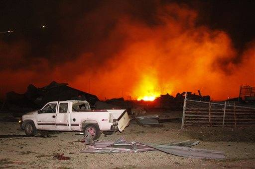 Fire continues to burn after a fertilizer plant explosion in West, Texas.