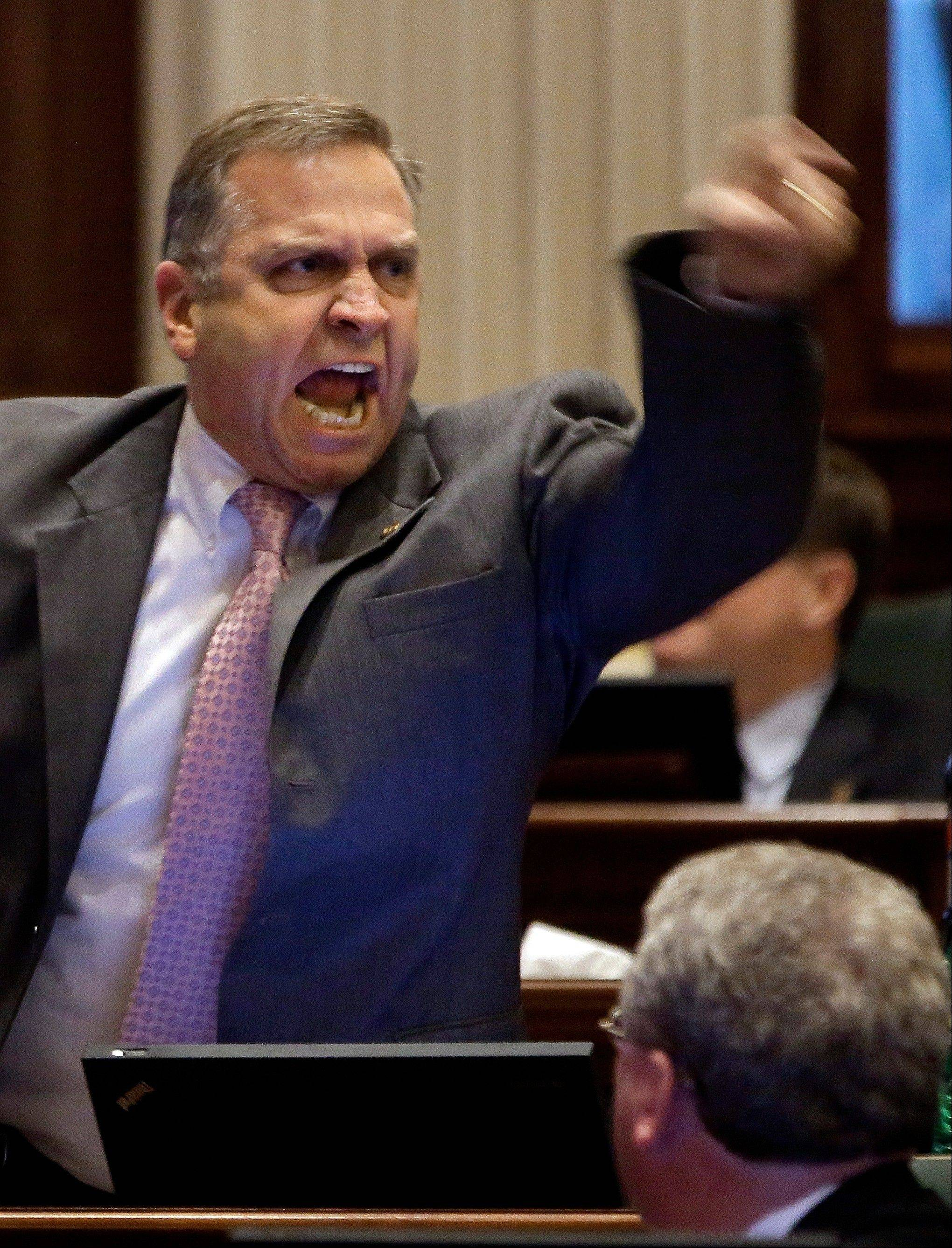 State Rep. Mike Bost, a Murphysboro Republican, vehemently argues gun legislation while on the House floor Wednesday in Springfield.