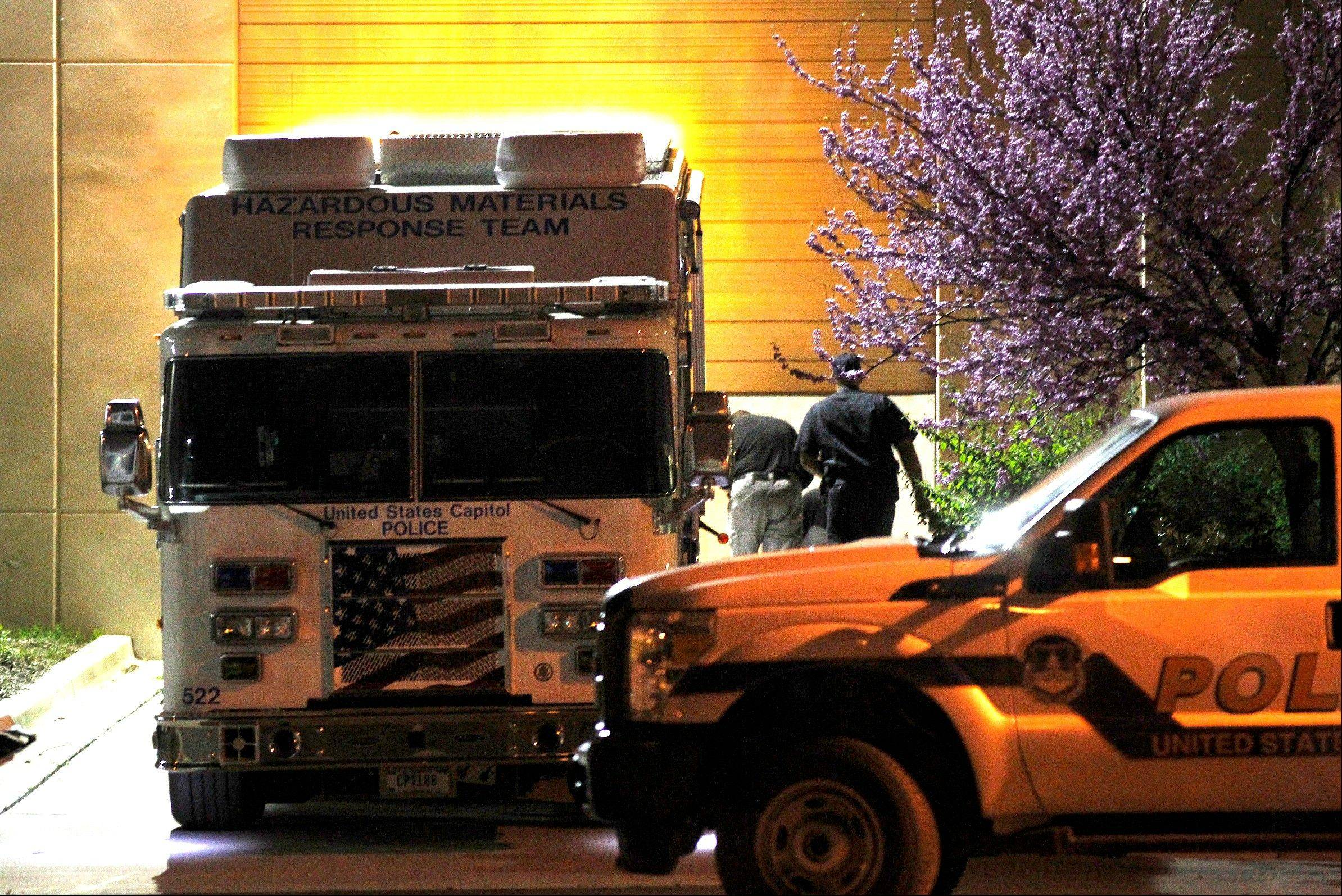 A U.S. Capitol Police hazmat vehicle is parked at a mail processing facility for Congressional mail in Prince George's County where a letter addressed to Sen. Roger Wicker, R-Miss., tested positive for ricin, Tuesday, April 16, 2013, in Hyattsville, Md.
