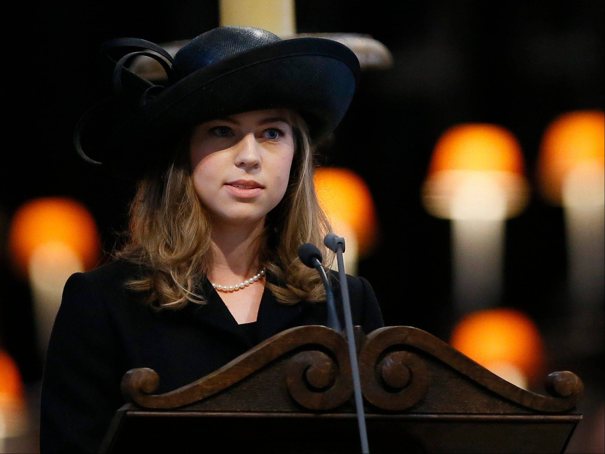 Amanda Thatcher, granddaughter of former British Prime Minister Margaret Thatcher, delivers a reading during the funeral service in St Paul's Cathedral in London, Wednesday, April 17, 2013. Margaret Thatcher, Britain's Iron Lady, was laid to rest Wednesday with a level of pomp and protest reflecting her status as a commanding, polarizing political figure.
