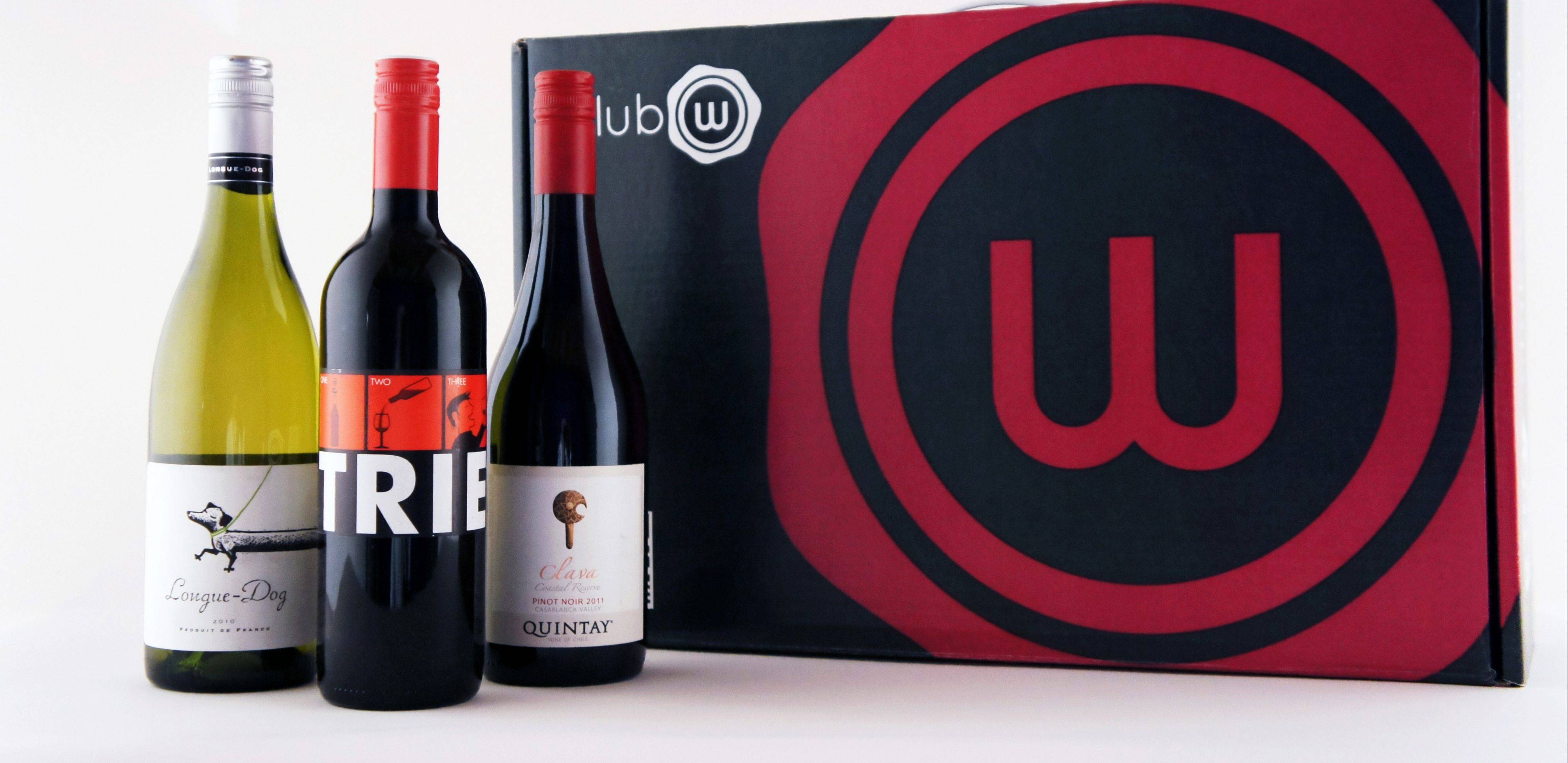 Club W offers three bottles of wine, as shown here, tailored to the buyer's taste monthly for $39. Club W is part of the growing number of online wine options.
