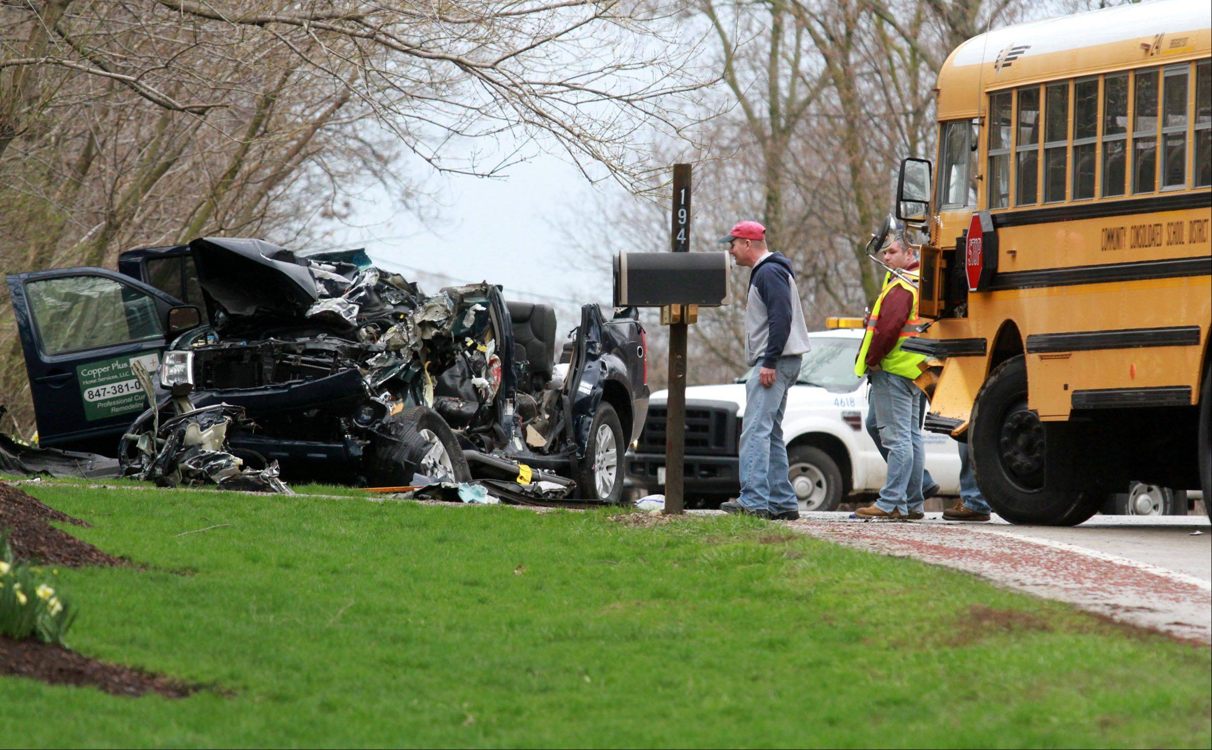 A Barrington Hills man died after his SUV crossed the centerline and collided head-on with school bus Thursday at Palatine Road and Highland Road just east of Ela Road in Inverness.